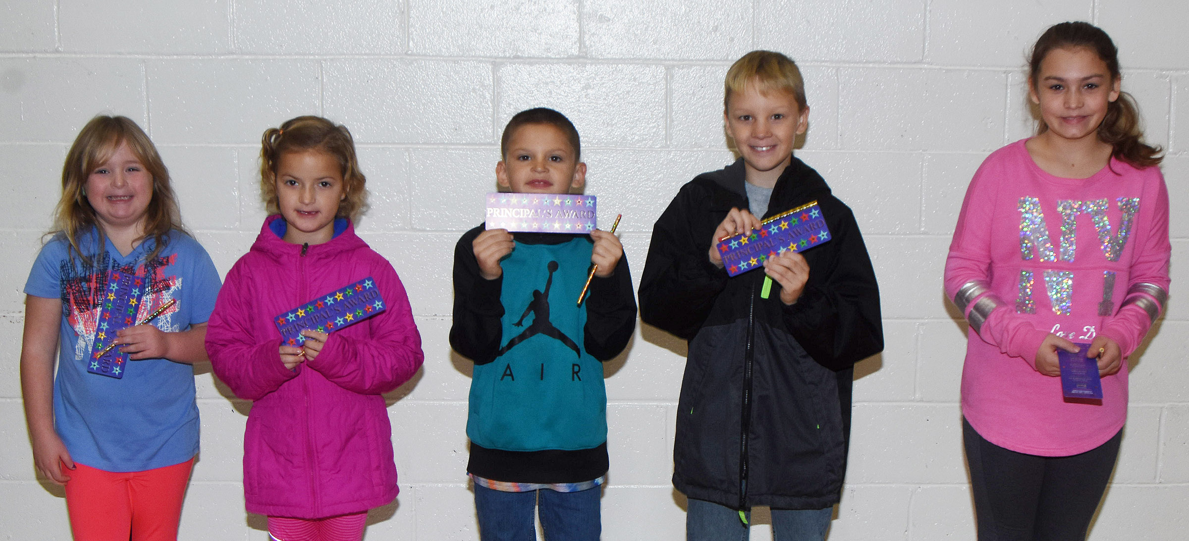 From left are second-grader Briley Sapp, first-grader Mae Miller, third-grader Seeley Whitaker, fourth-grader Braxton Agee and fifth-grader Kealey Mann.