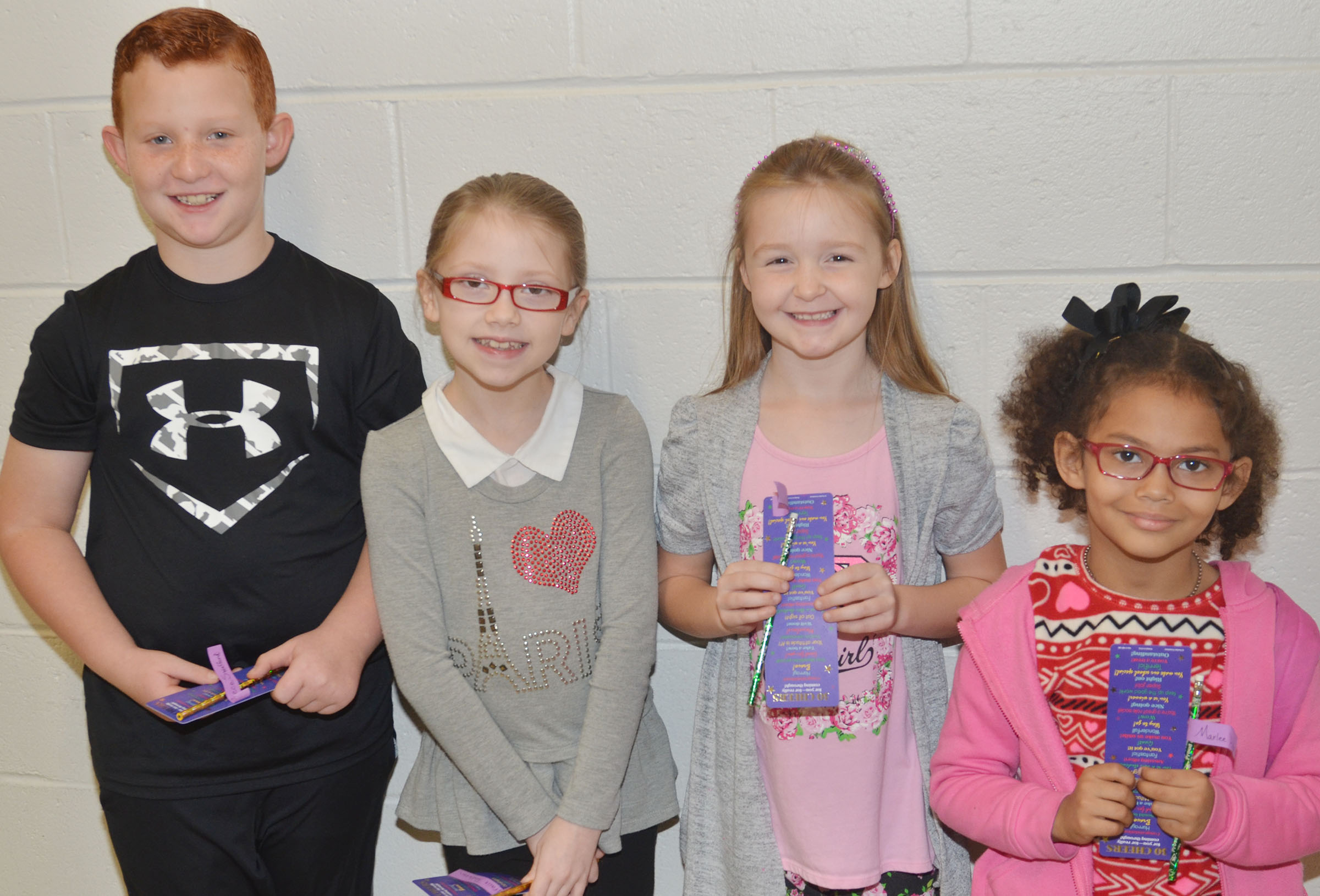 From left are second-grader Reece Swafford, third-grader Gracie Pendleton, first-grader Gracie Murphy and kindergartener Marlee Dickens.