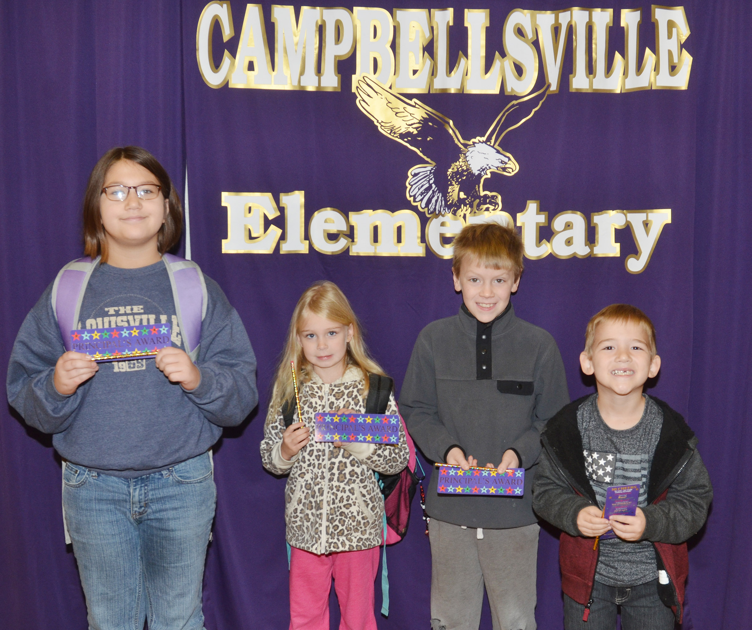From left are fifth-grader Kylee Sowders, kindergartener Alinna Bray, fourth-grader Connor Coots and first-grader Mason Edwards. Absent from the photo are second-grader Allison Dean and third-grader Mark Lawson.