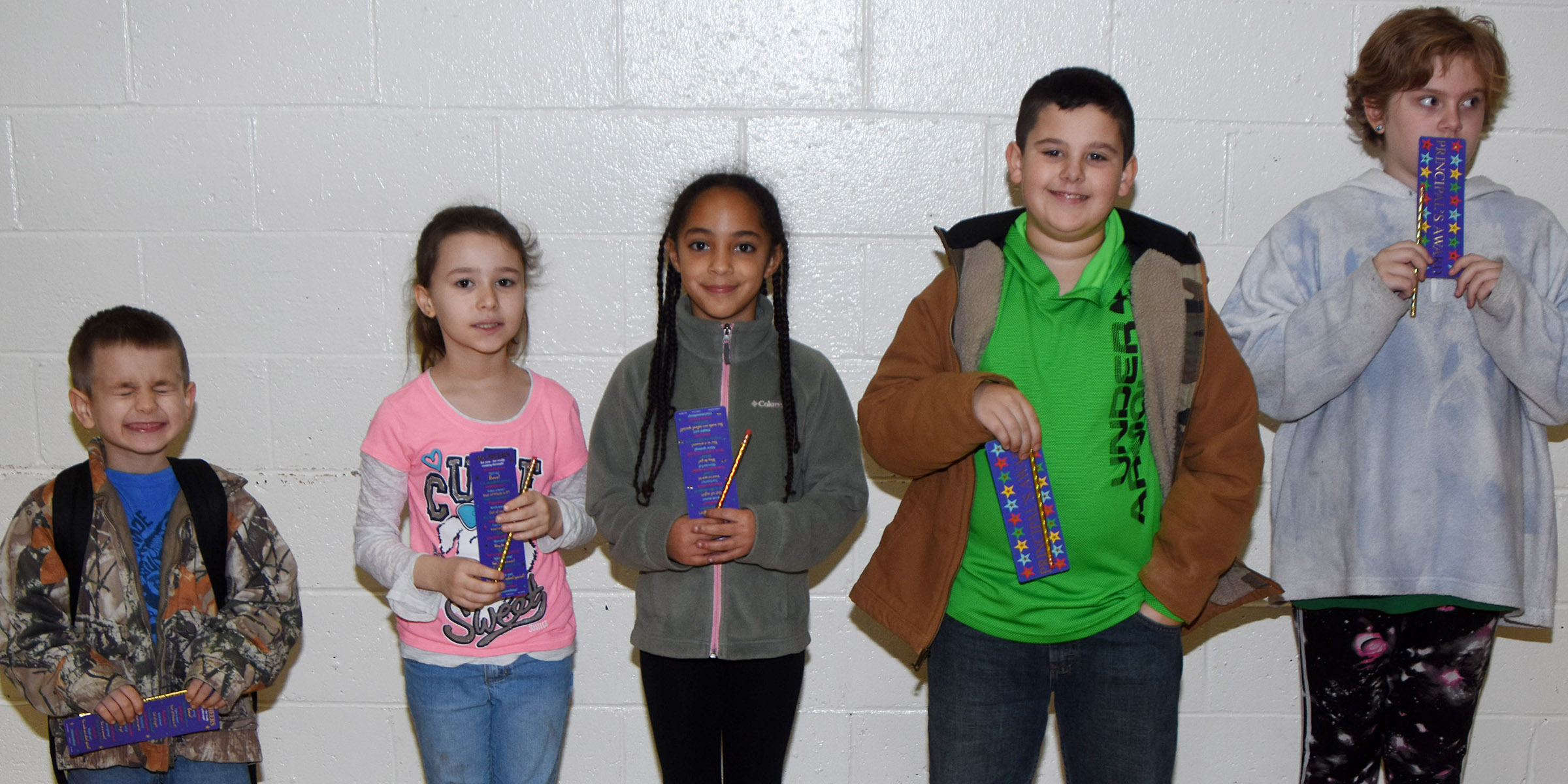 From left are first-grader Samuel Terry, second-grader Stella Newcomb, third-grader Essence Hunter, fourth-grader Damien Clark and fifth-grader Arianna Childers. Absent from the photo is kindergartener Connor Wise.