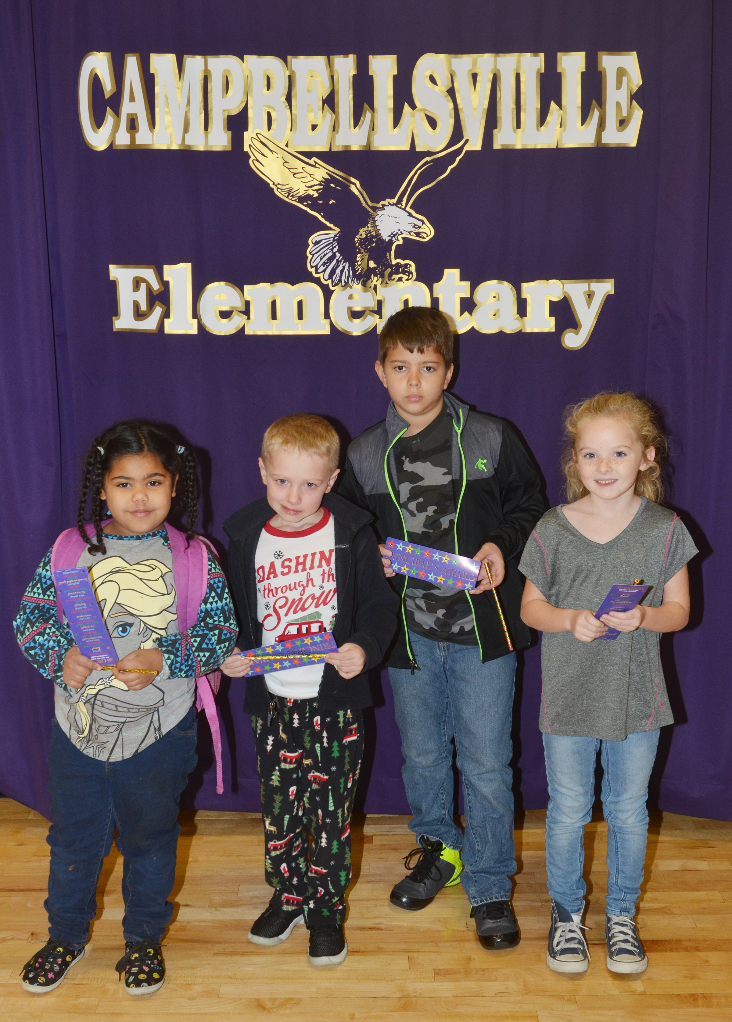 From left are kindergartener Linnly Adams, first-grader Jackson Wright, fourth-grader Stanley Napper and second-grader Katelynn Vest. Absent from the photo are third-grader Destiny Choate and fifth-grader Daisy Wilkerson.
