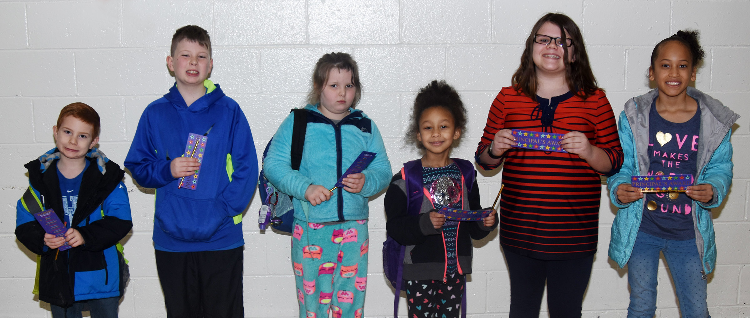 From left are kindergartener Kennon Dotson, fourth-grader Lucas Gribbins, second-grader Kierra Maupin, first-grader Elyzabeth Fisher, fifth-grader Keely Dicken and third-grader Yazlyn Sutton.