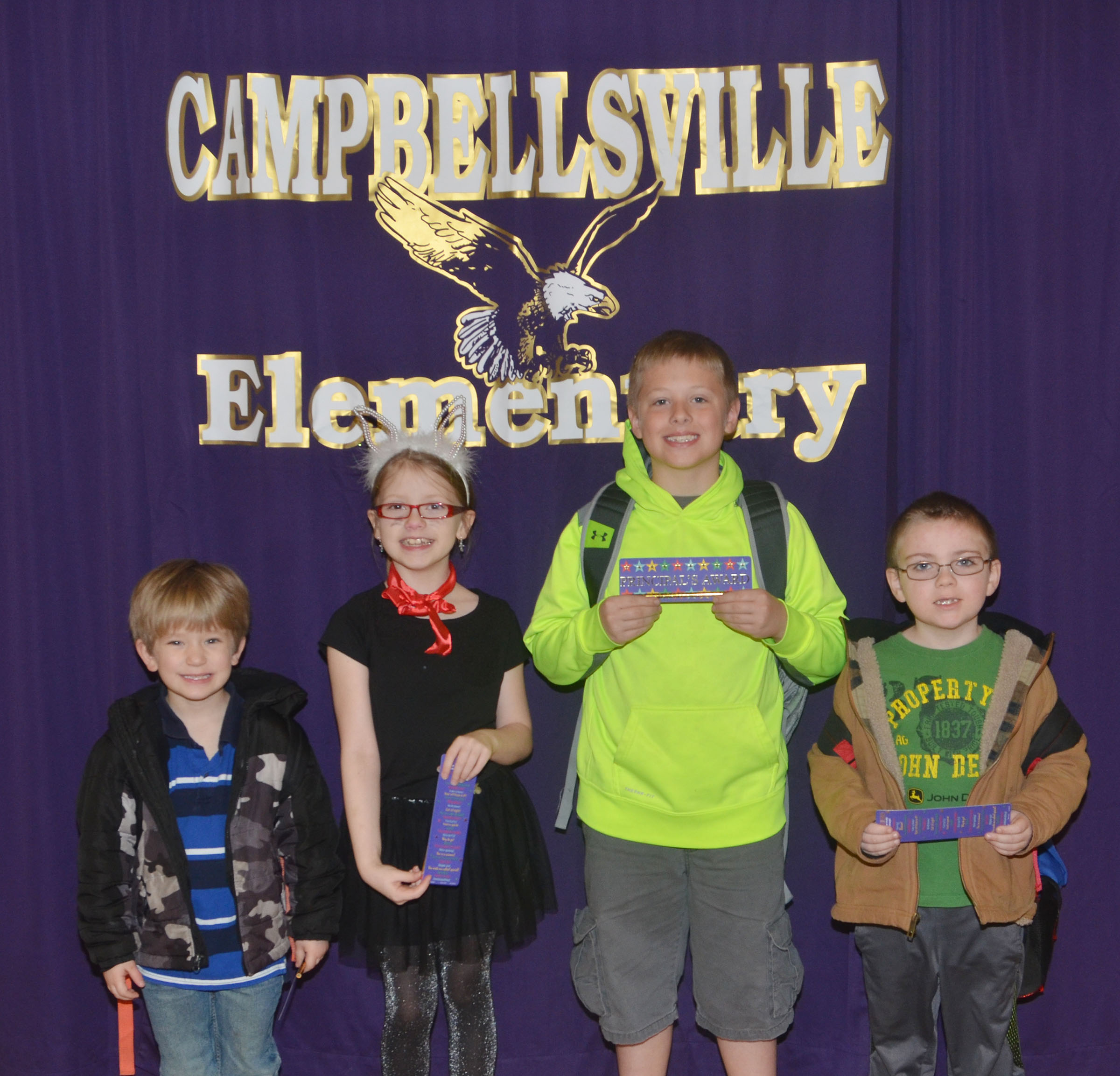 From left are kindergartener Luka Banta, third-grader Gracie Pendleton, second-grader Evan Lockridge and first-grader Drake Edwards.