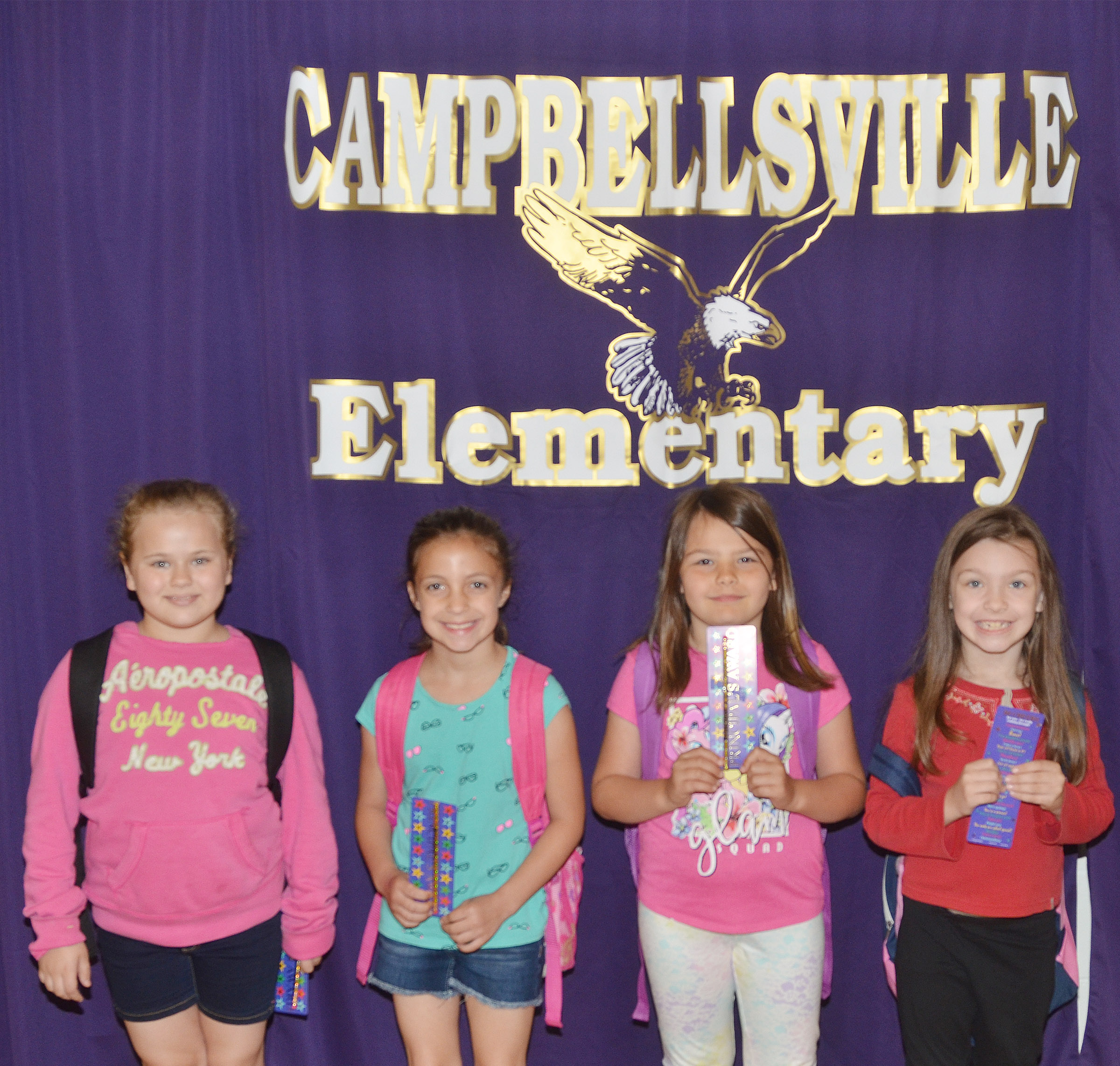 From left are third-grader Amaya Anguiano, first-grader Lillian Martin, second-grader Dorothy Shively and kindergartener Melody Ward.