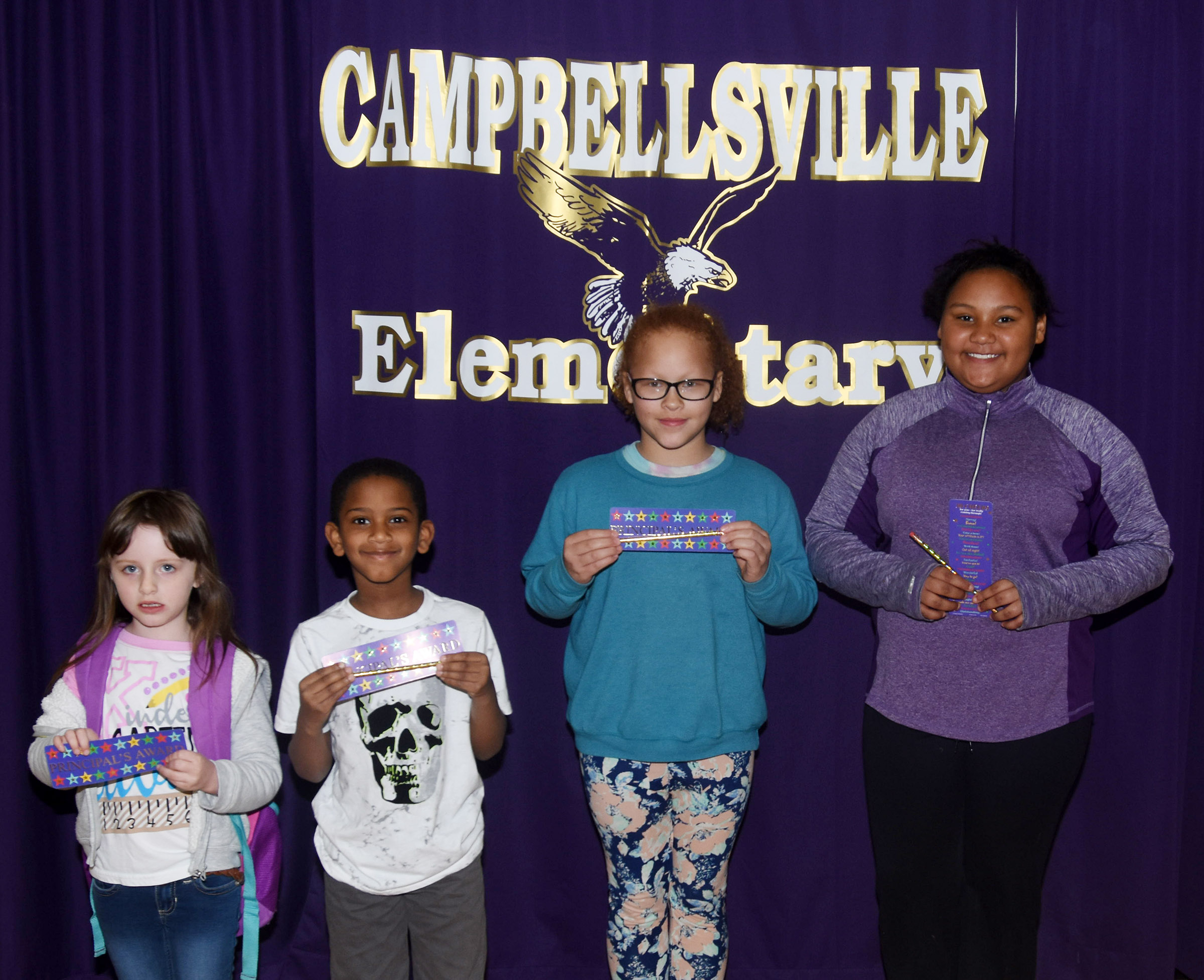 From left are kindergartener Kaylee Franklin, first-grader Kasen Smith, third-grade Kallie Taylor and fifth-grader Dezarae Washington. Absent from the photo are second-grader Hunter Clark and fourth-grader Devin Underwood.