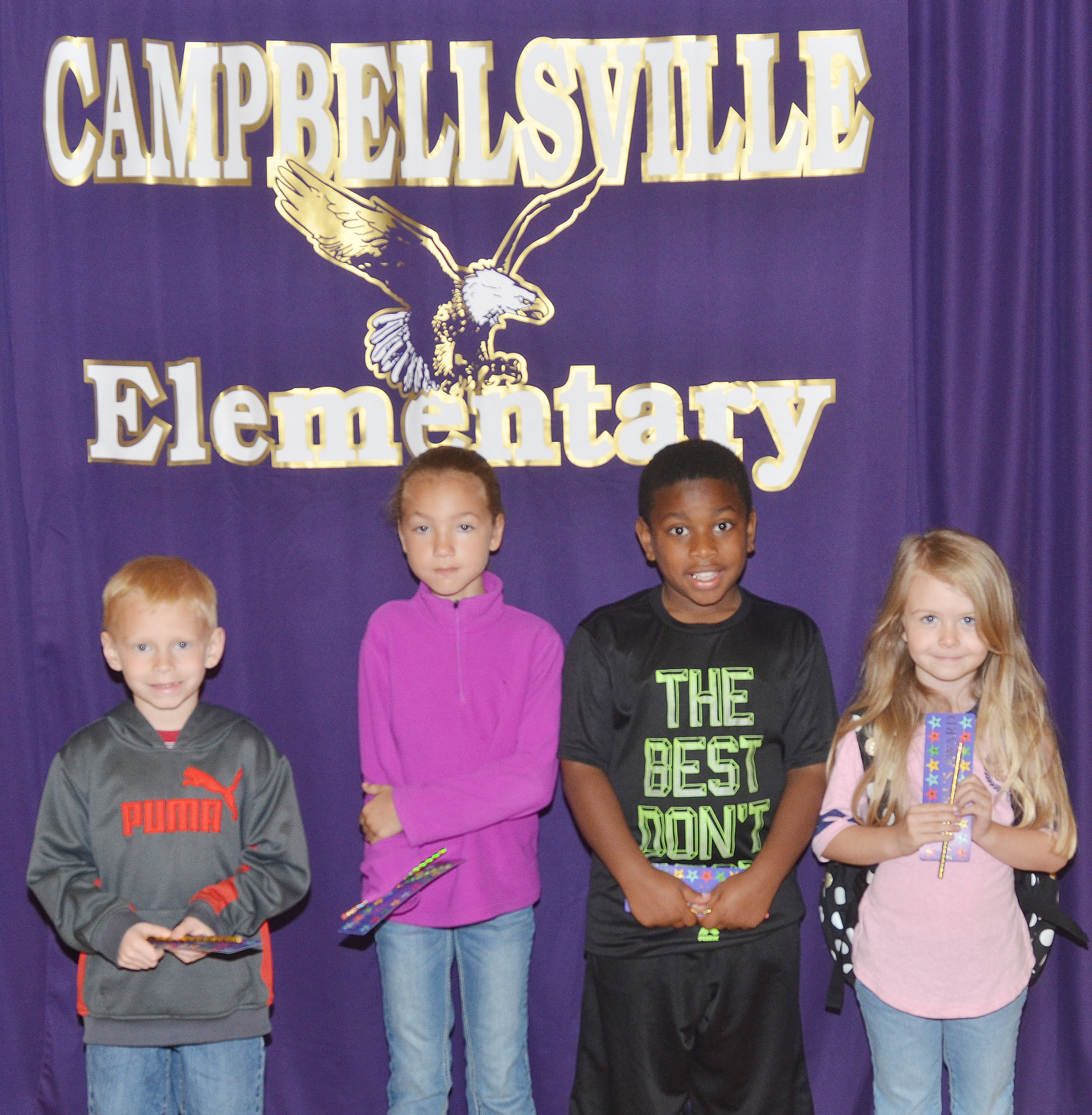 From left are first-grader Chase Gabbert, third-grader Raelyn Dunn, second-grader Elijah Spurling and kindergartener Jewell Brewster.