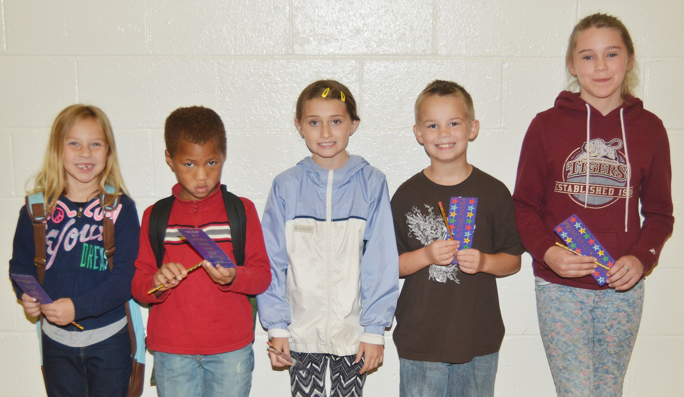 From left are first-grader Kira Dotson, kindergartener Jamerius Miller, third-grader Cadence Burton, second-grader Jackson Bates and fifth-grader Brooklynn Giles. Absent from the photo is fourth-grader Kealey Mann.