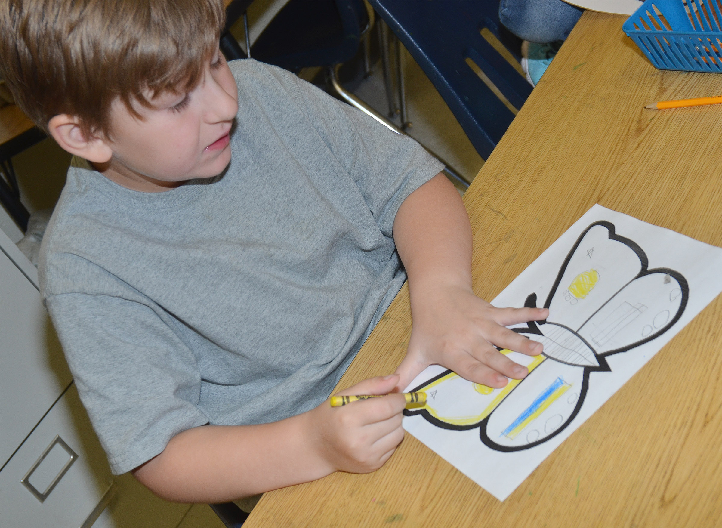 CES first-grader Tommy Caswell creates symmetry as he colors his butterfly.