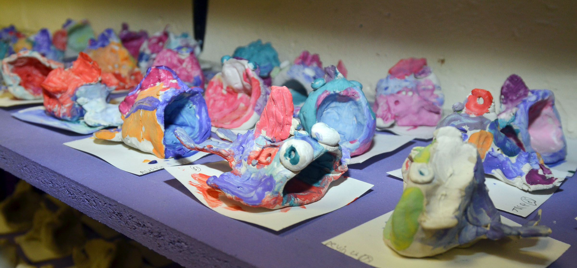 CES third-graders recently made fish out of clay in their art class.