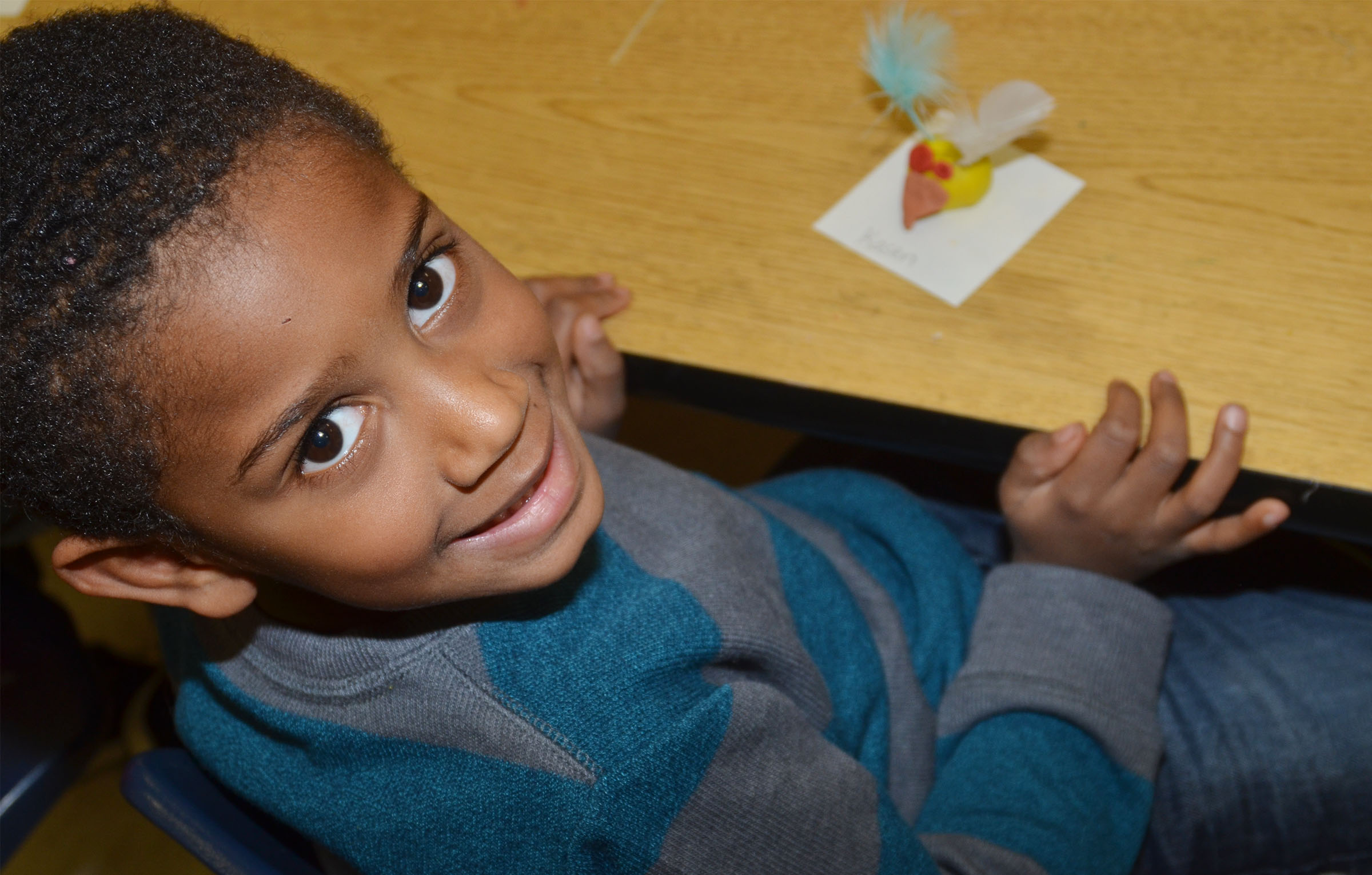 CES kindergartener Kasen Smith smiles with his owl.