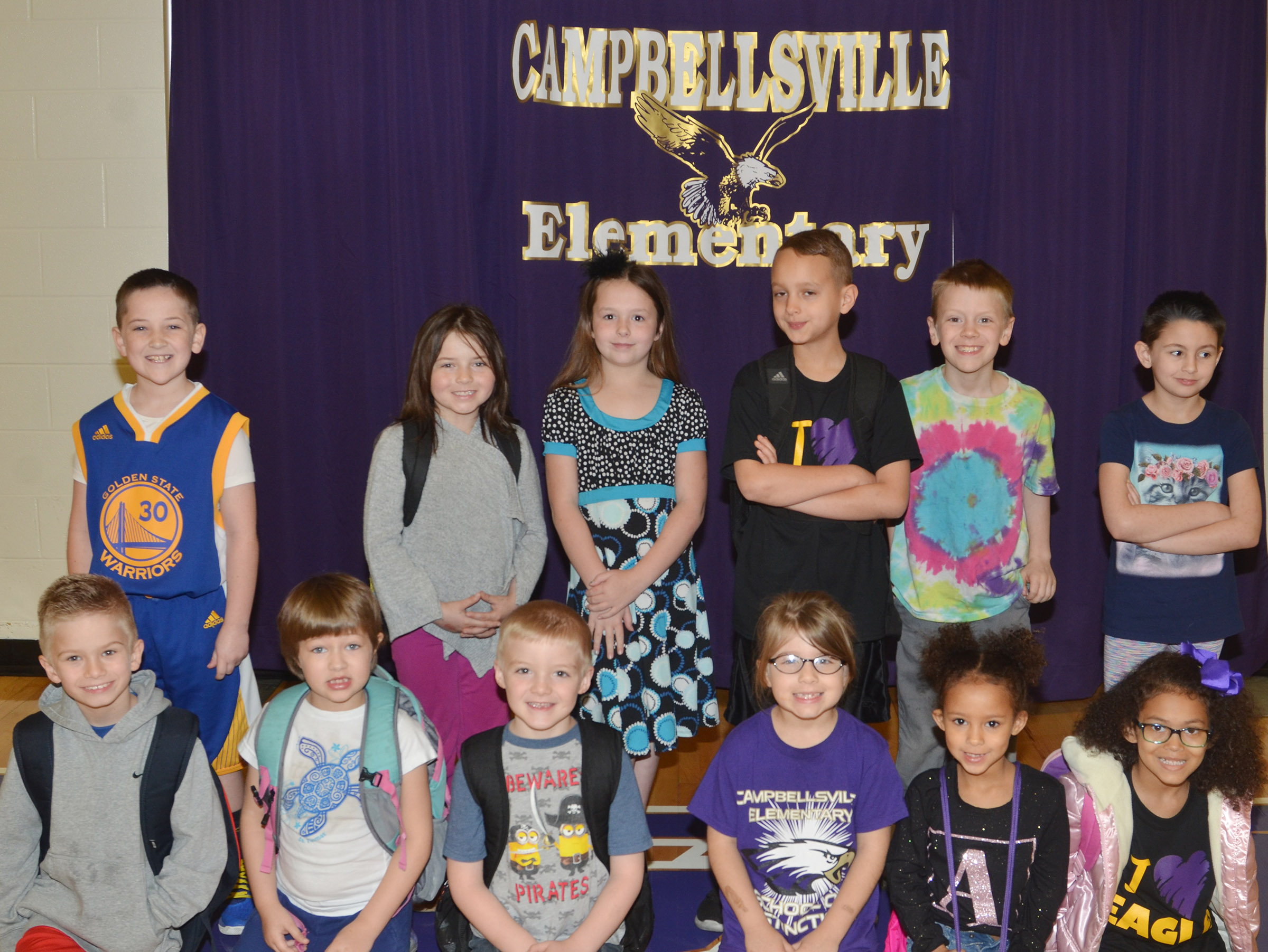 CES art competition classroom second-place winners include, from left, front, first-graders Parker Hamilton and Addelyn Dooley, first-grader Parker Scharbrough, first-grader Kenady Gabehart, kindergarteners Aleja Taylor and Marlee Dickens. Back, second-graders Luke Adkins, Kendall Cruz and Evelyn Stancill and third-graders Bradley Paris, Connor Coots and Raeanna Jefferson. Absent from the photo are kindergartener Jyra Welch and Kaylee Gayheart.