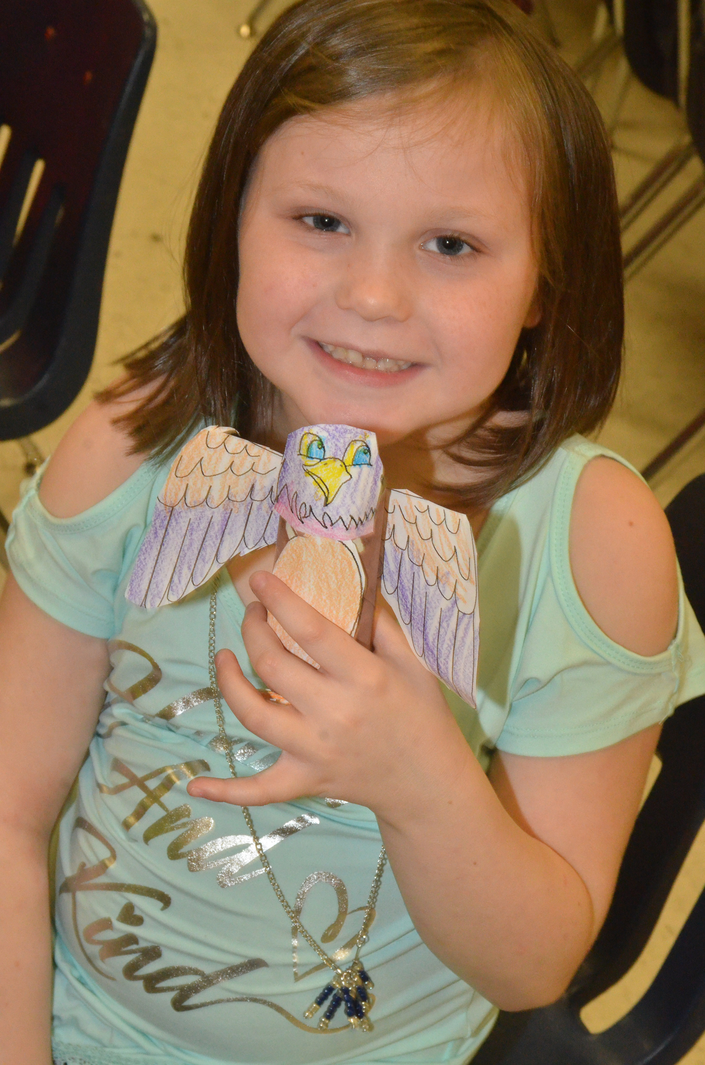 CES first-grader Cadynce Cox holds his finished Eagle.