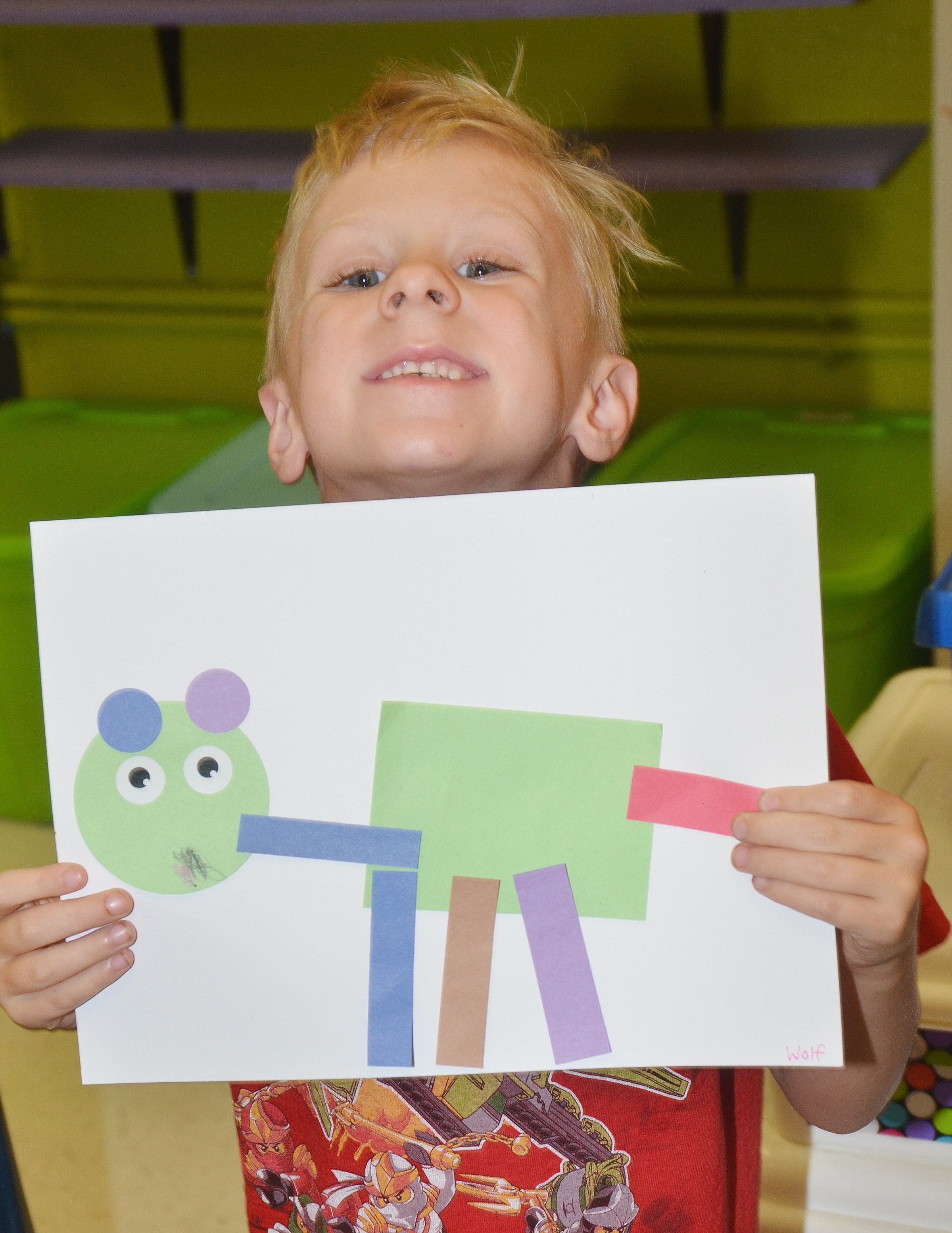 CES kindergartener Lukas Adams holds his shape animal.