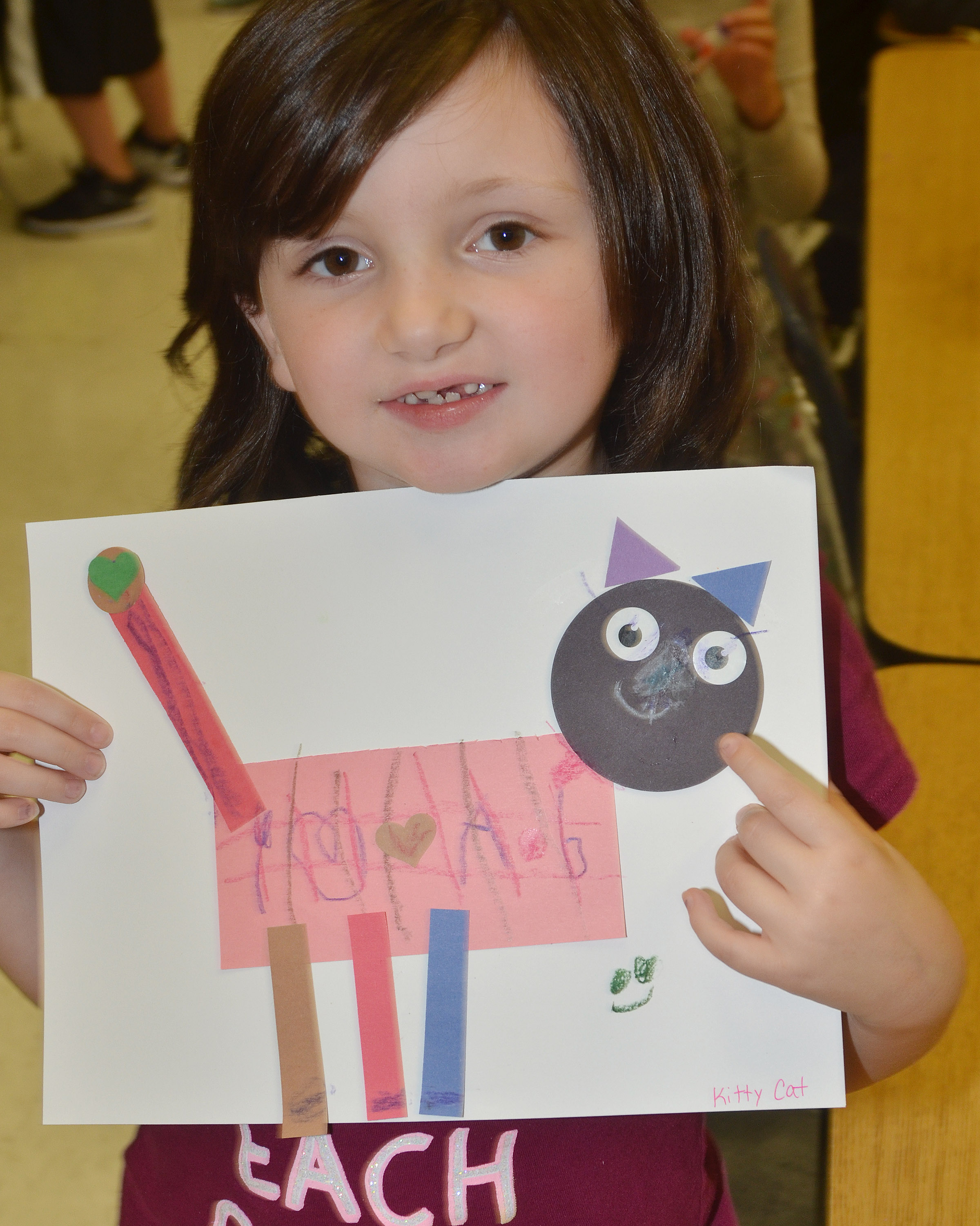 CES kindergartener Abigail Smith holds her shape animal.