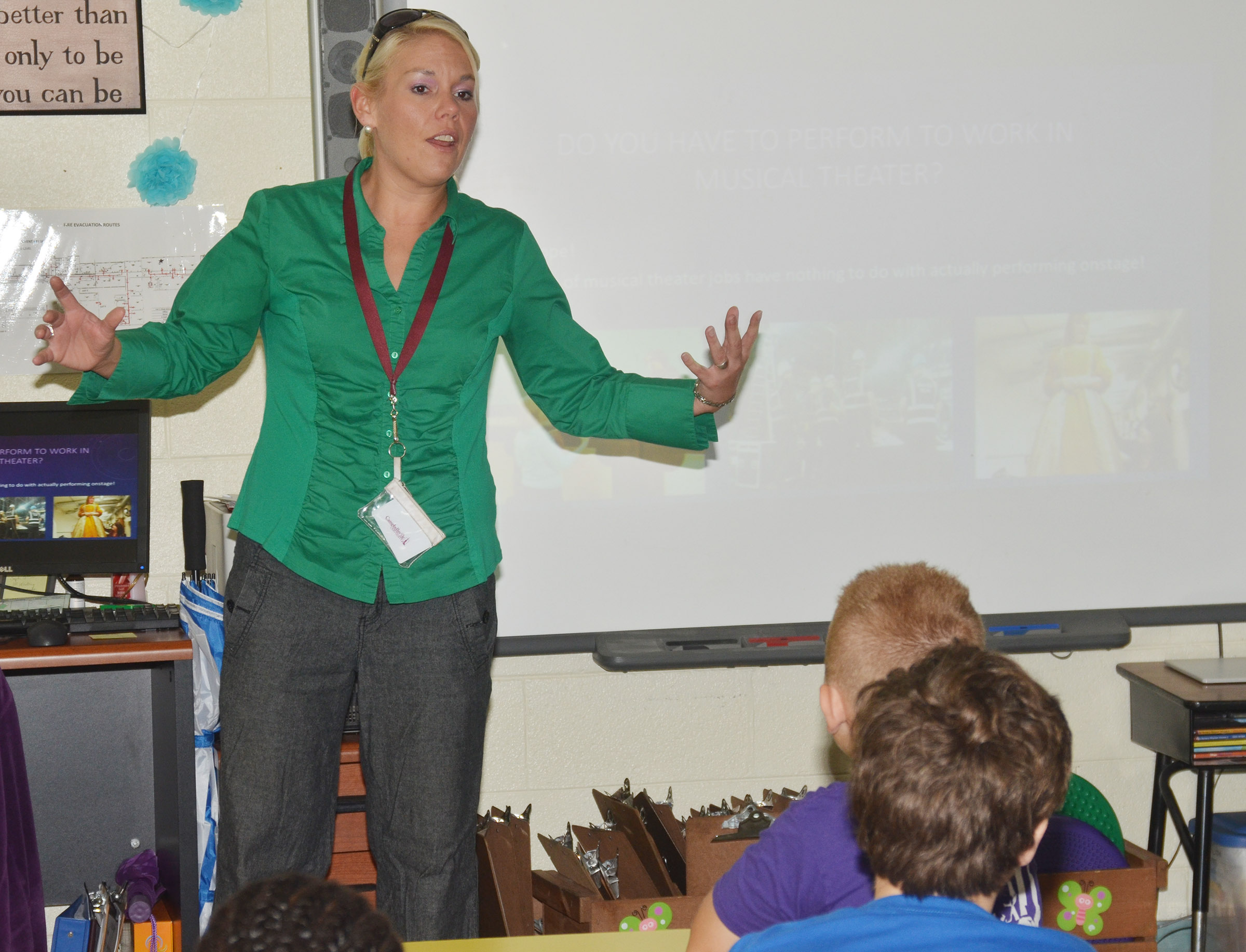 Dr. Bethany Stiles talks to CES fourth-graders about musical theater.