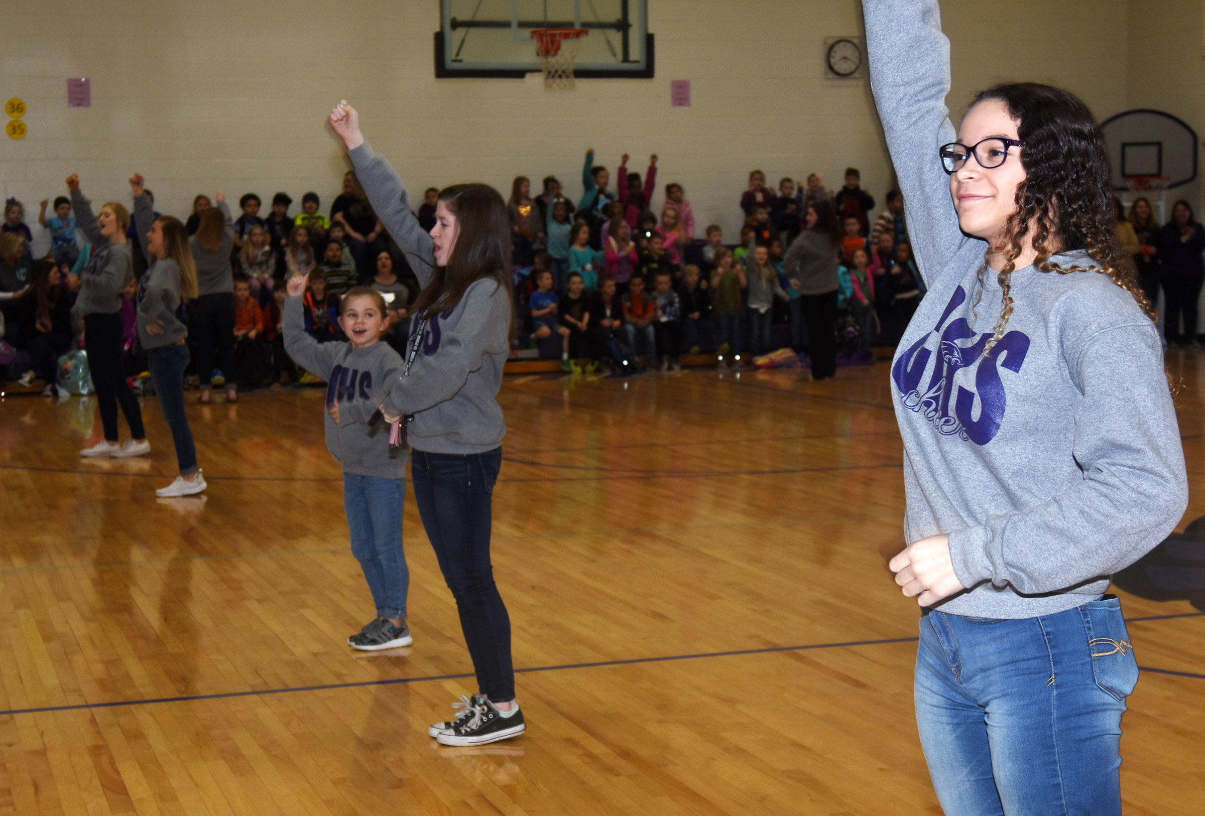 CHS sophomore Taliyah Hazelwood leads CES students in a cheer.