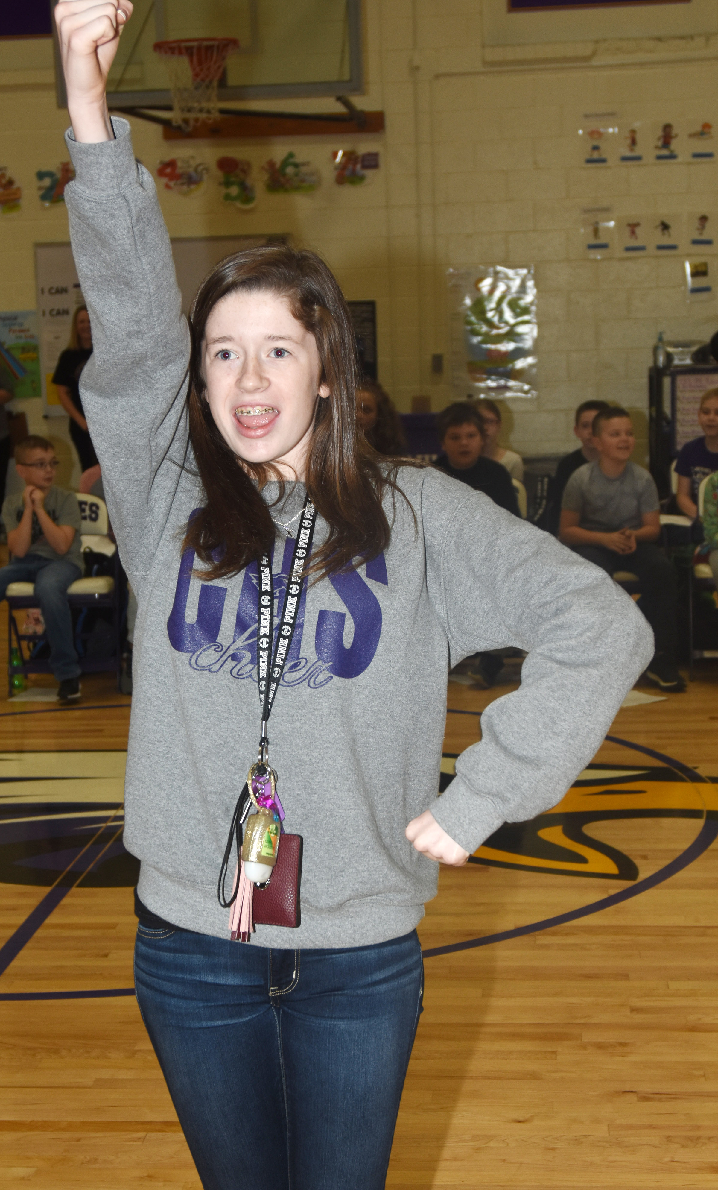 CHS sophomore Gracyne Hash leads CES students in a cheer.