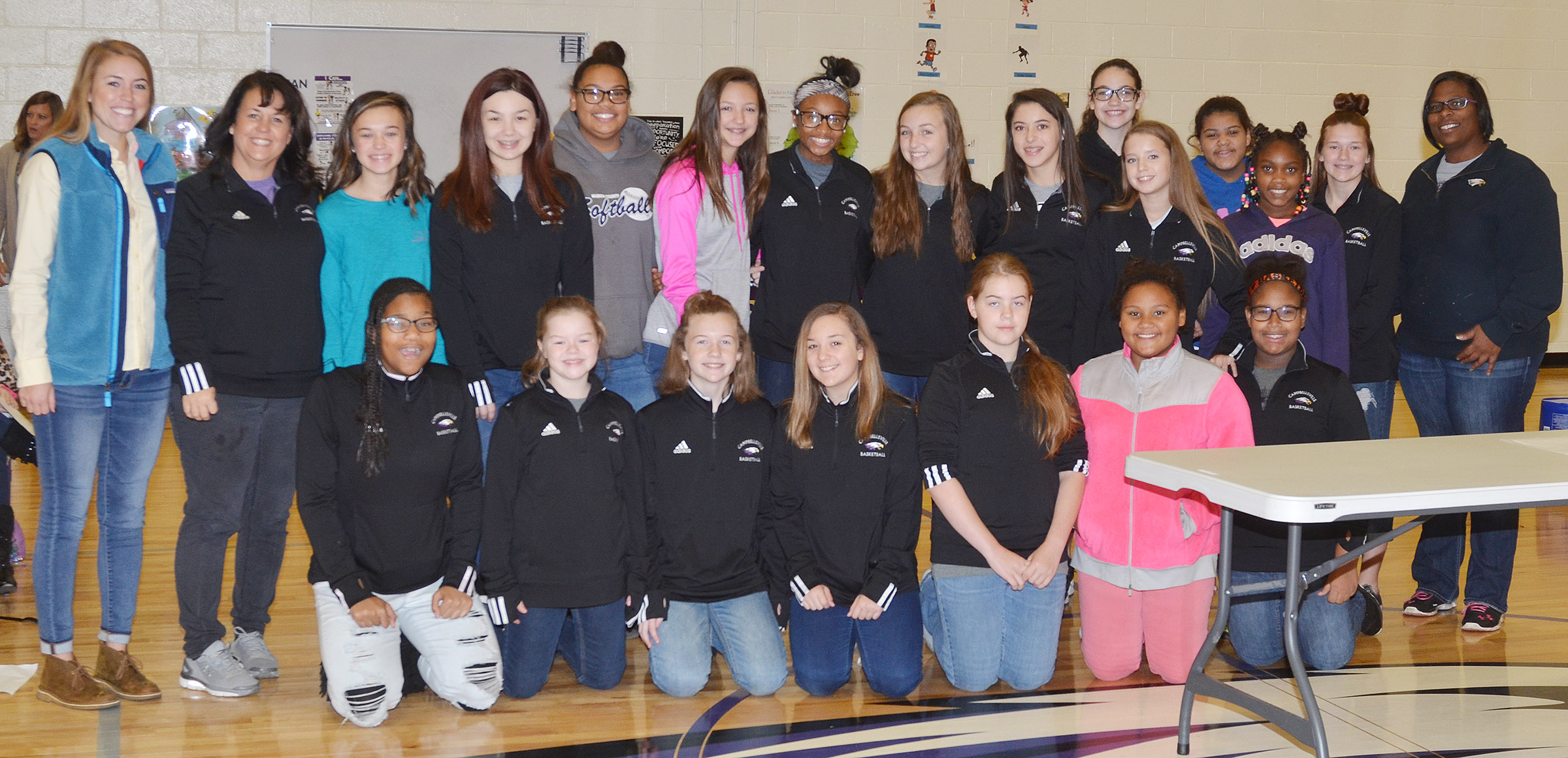 Campbellsville Middle School girls' basketball players were honored at the Campbellsville Elementary School assembly on Friday, Nov. 10.