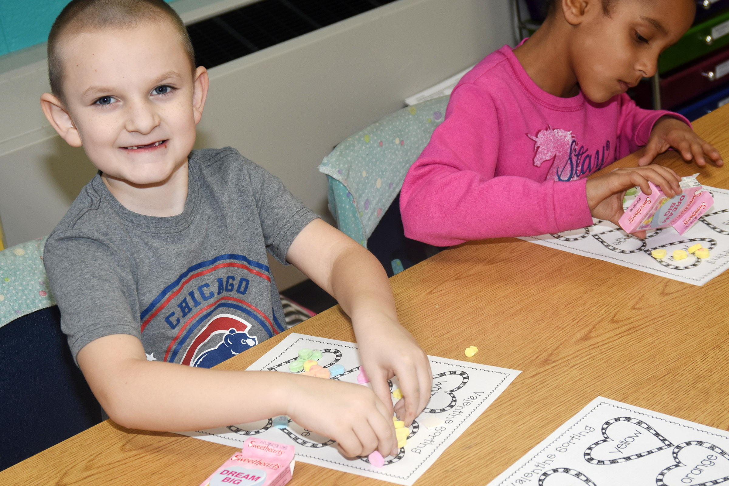 CES first-grader Ryne Gumm sorts his hearts.