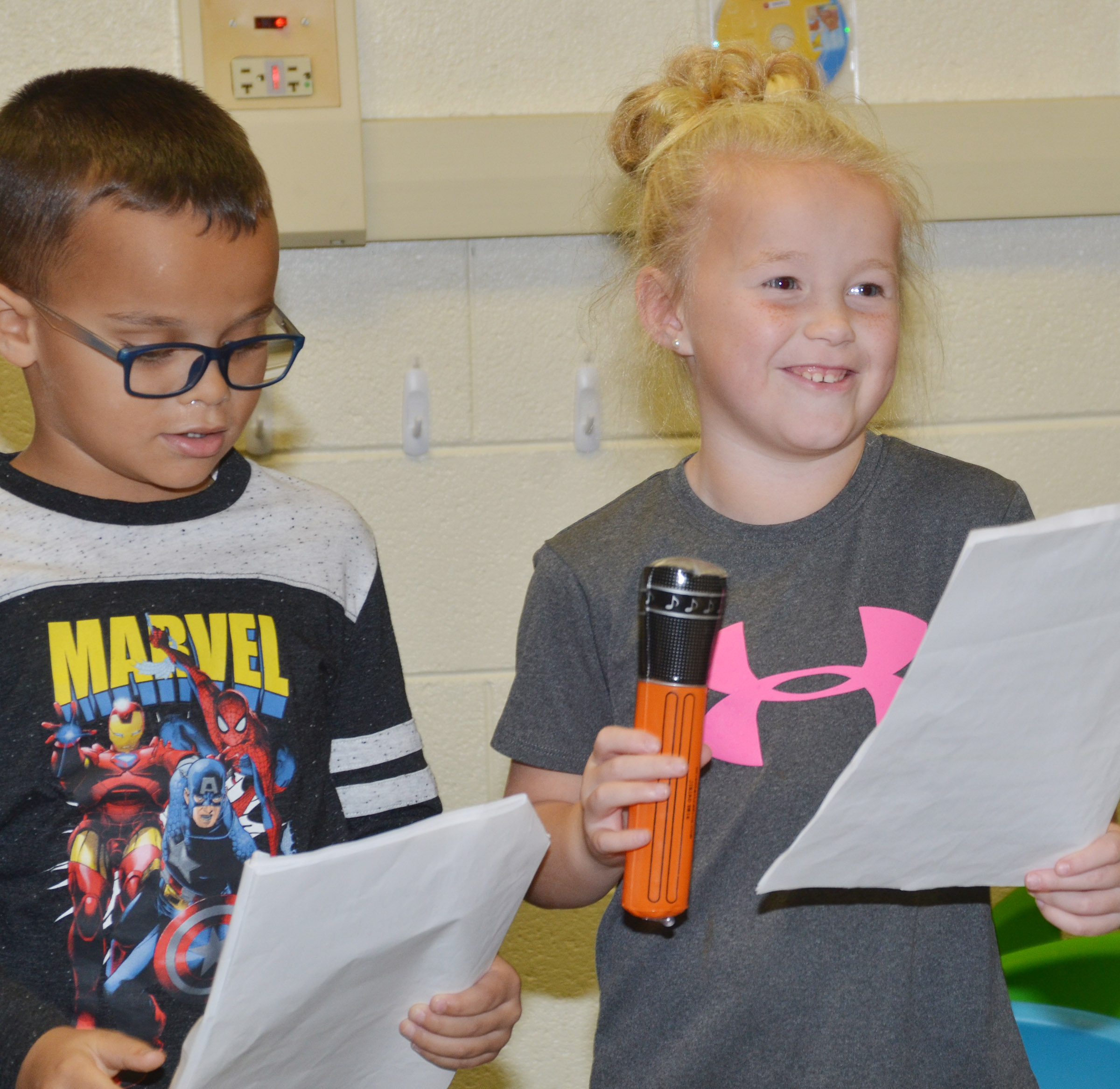 CES first-grader Lillie Judd delivers her lines as classmates Davian Taylor listens.