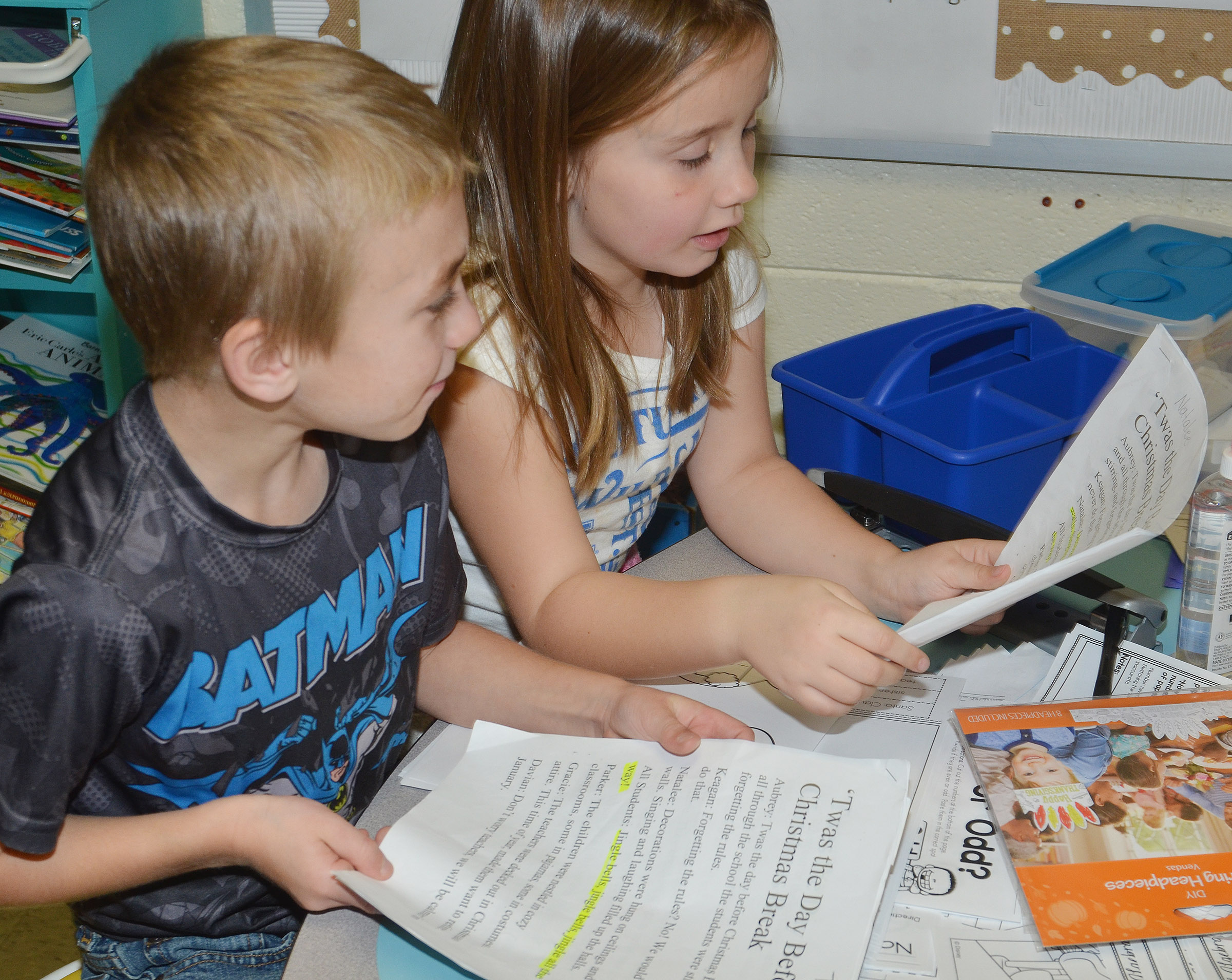 CES first-graders Tyler Bryant, at left, and Natalee Shaw practice their lines.