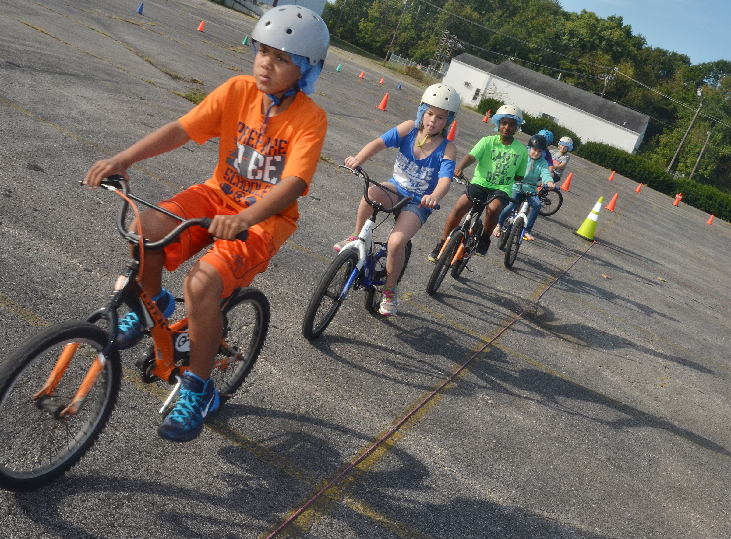 CES fourth-grader Christian Hart leads his classmates as they ride.