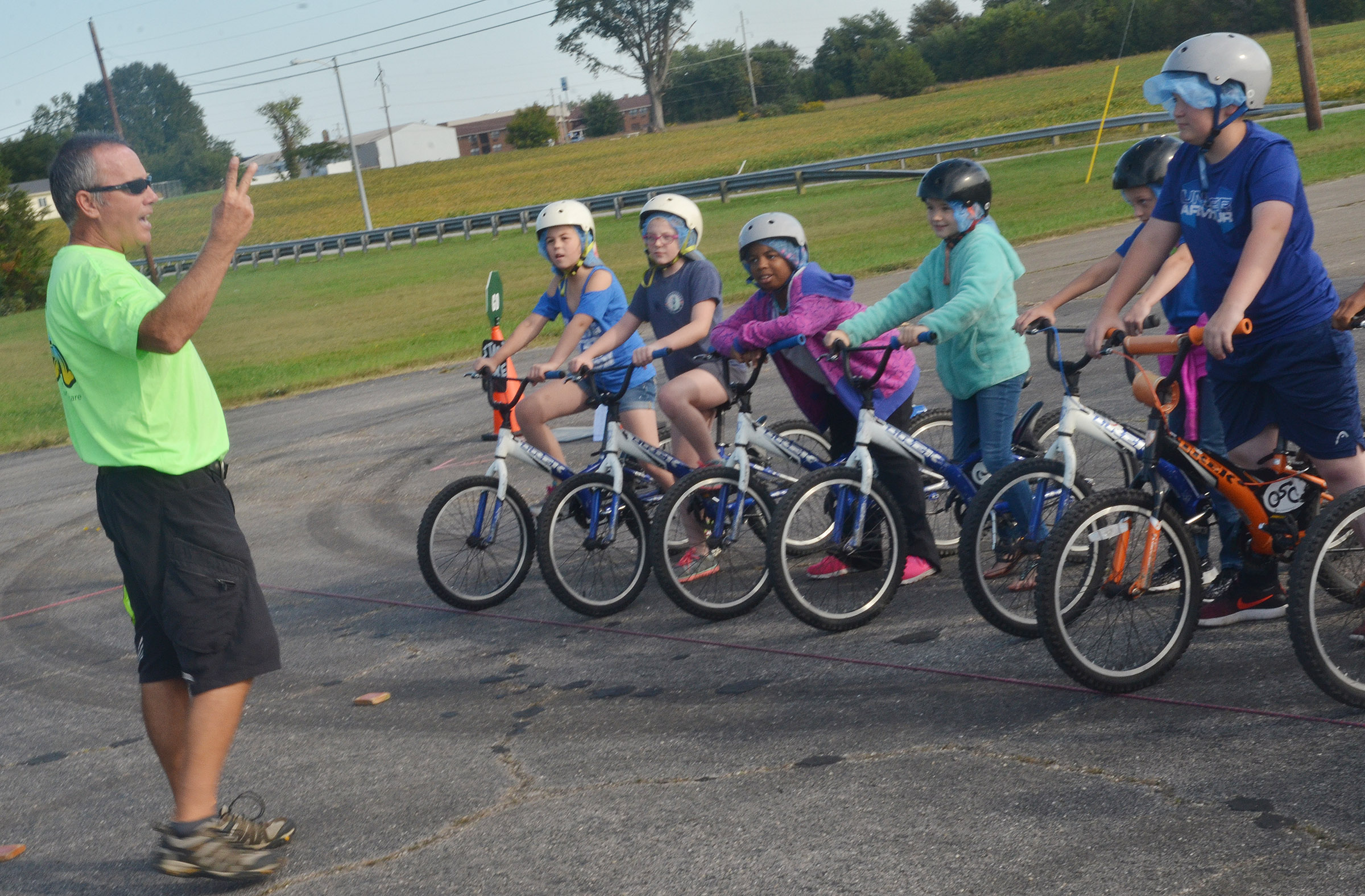 Doug Beckhart, a bicycle safety educator with Kosair Children's Hospital, talks to CES fourth-graders about bicycle safety.