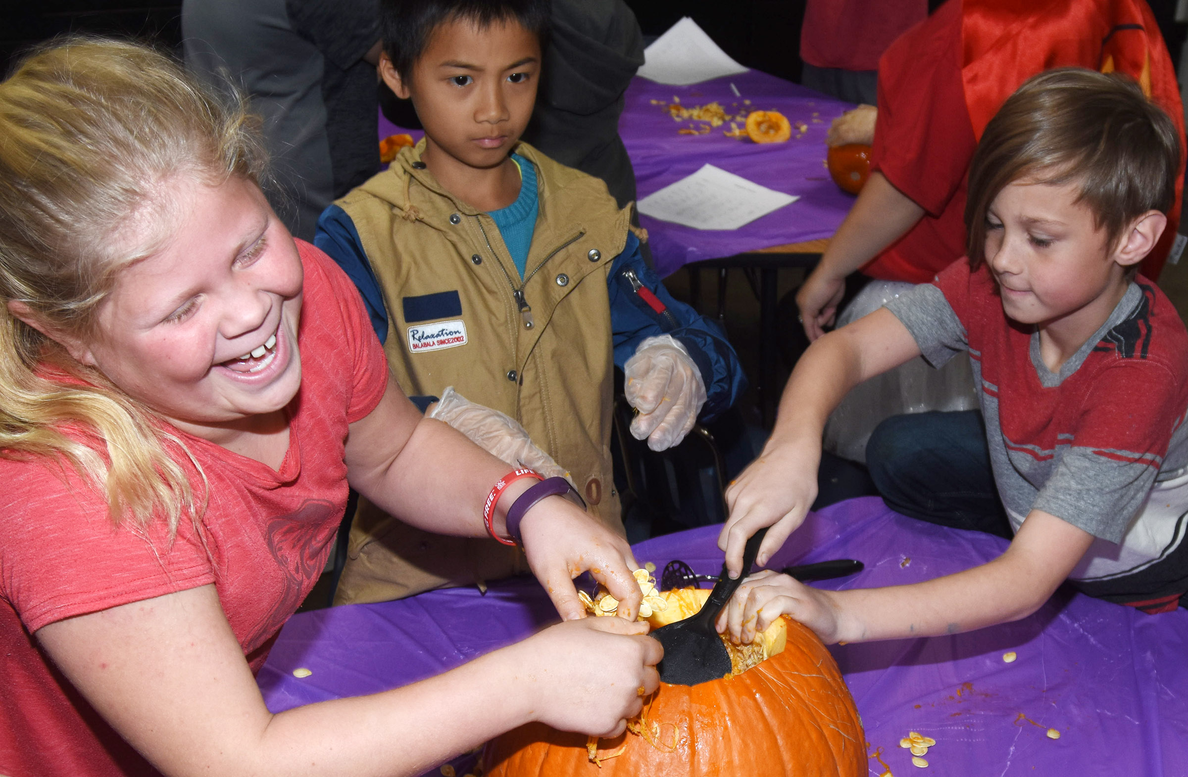 CES fourth-grader Lily Coots reacts as she removes seeds from a pumpkin.
