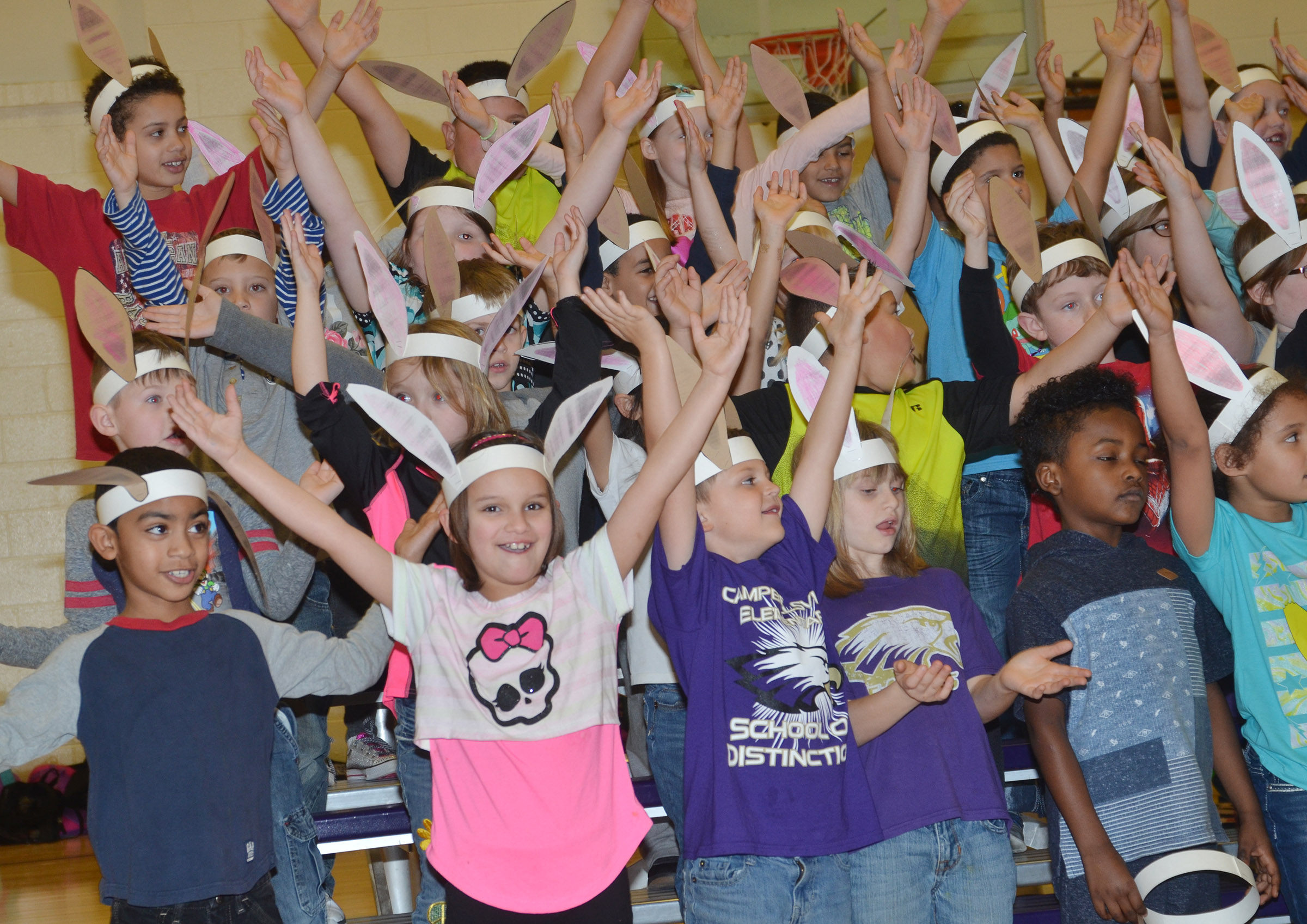 "CES first-graders perform ""Bunny Ears."""
