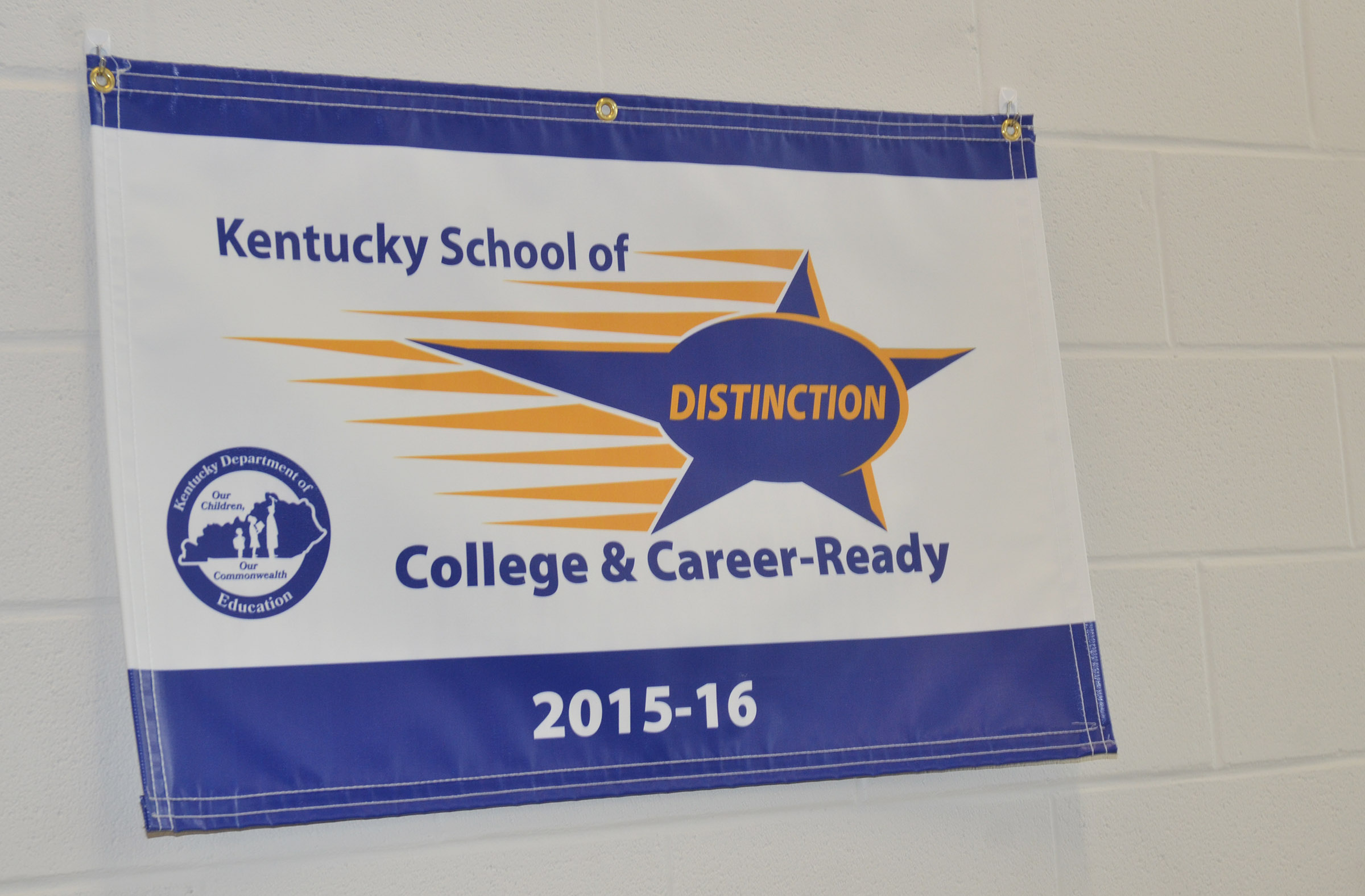 This School of Distinction banner hangs by the main office at Campbellsville Elementary School.