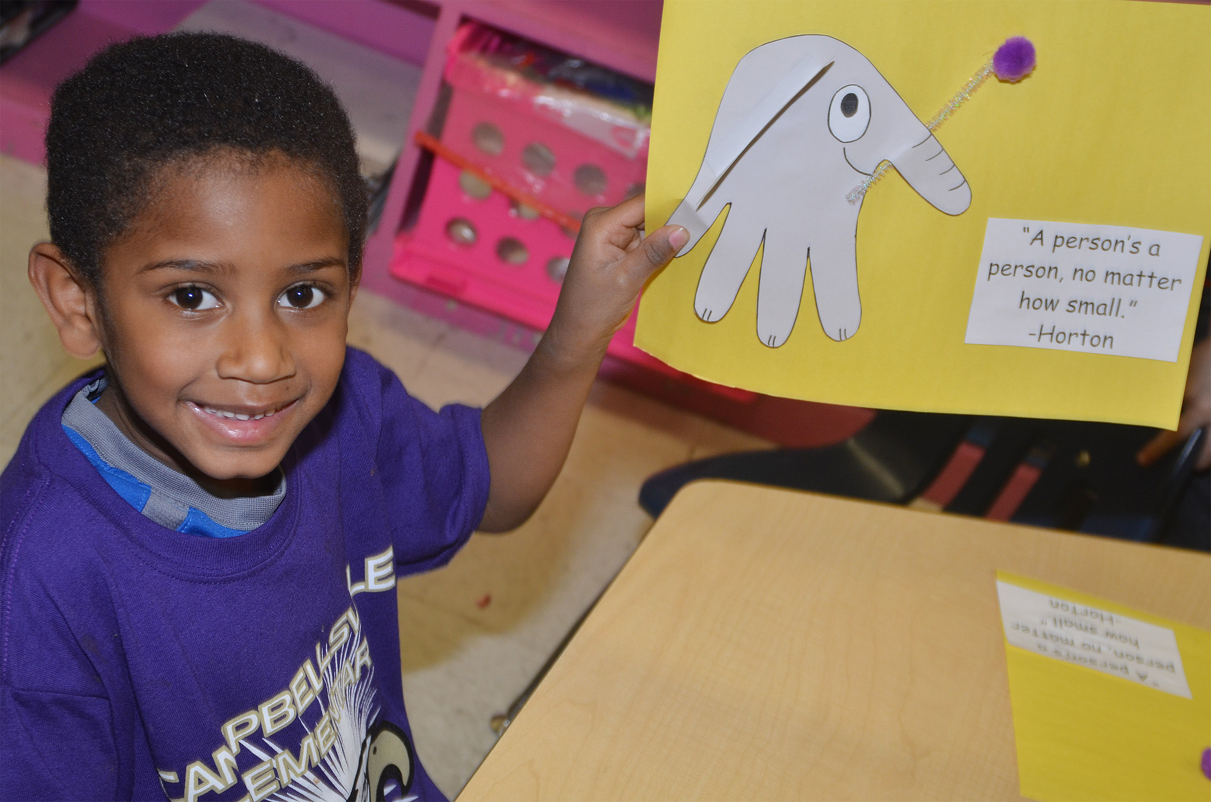 CES kindergartener Kasen Smith holds his finished Horton character.