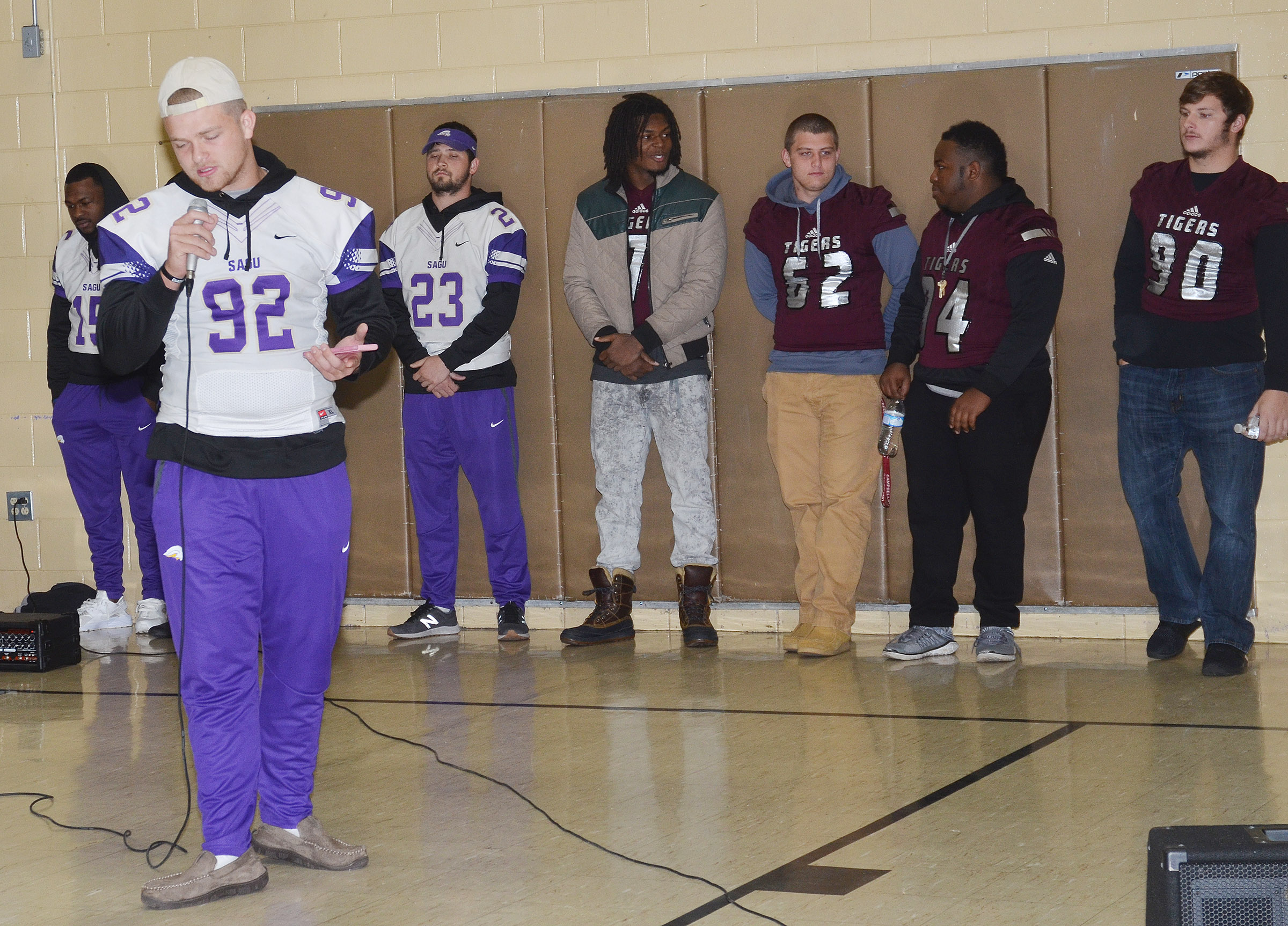 SAGU player Reed Oaks talks to CMS students.