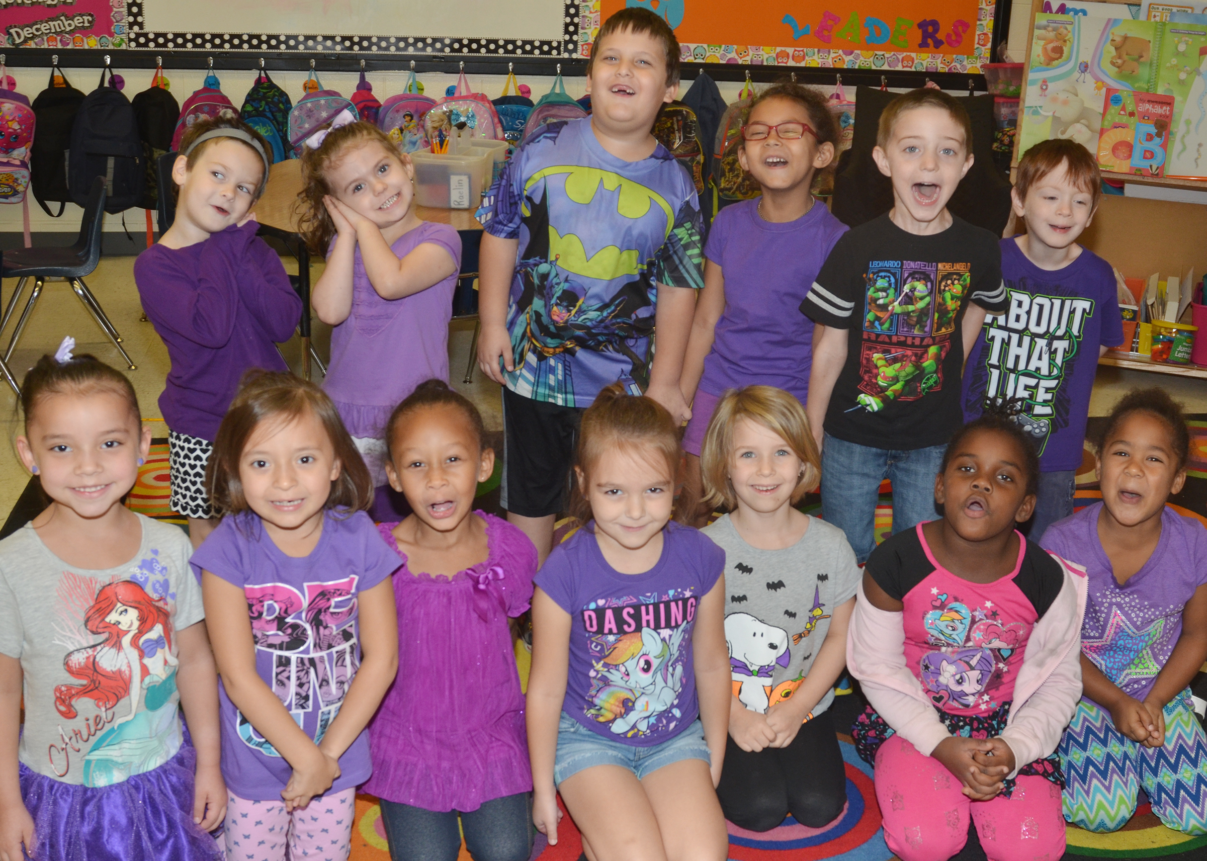 Students in Nikki Price's kindergarten class dress for purple day during Color Week.