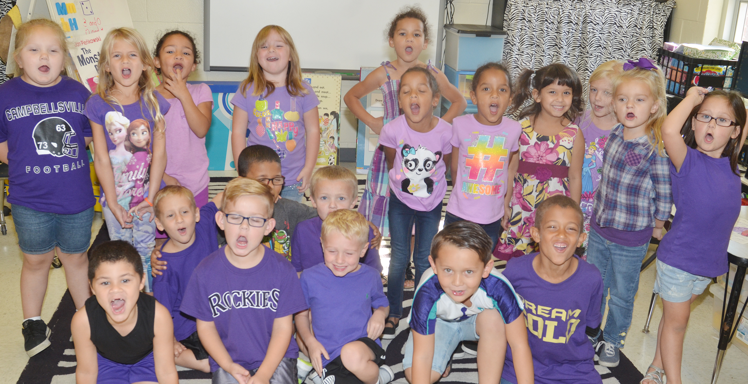 Students in Lisa Wiseman's kindergarten class dress for purple day during Color Week.