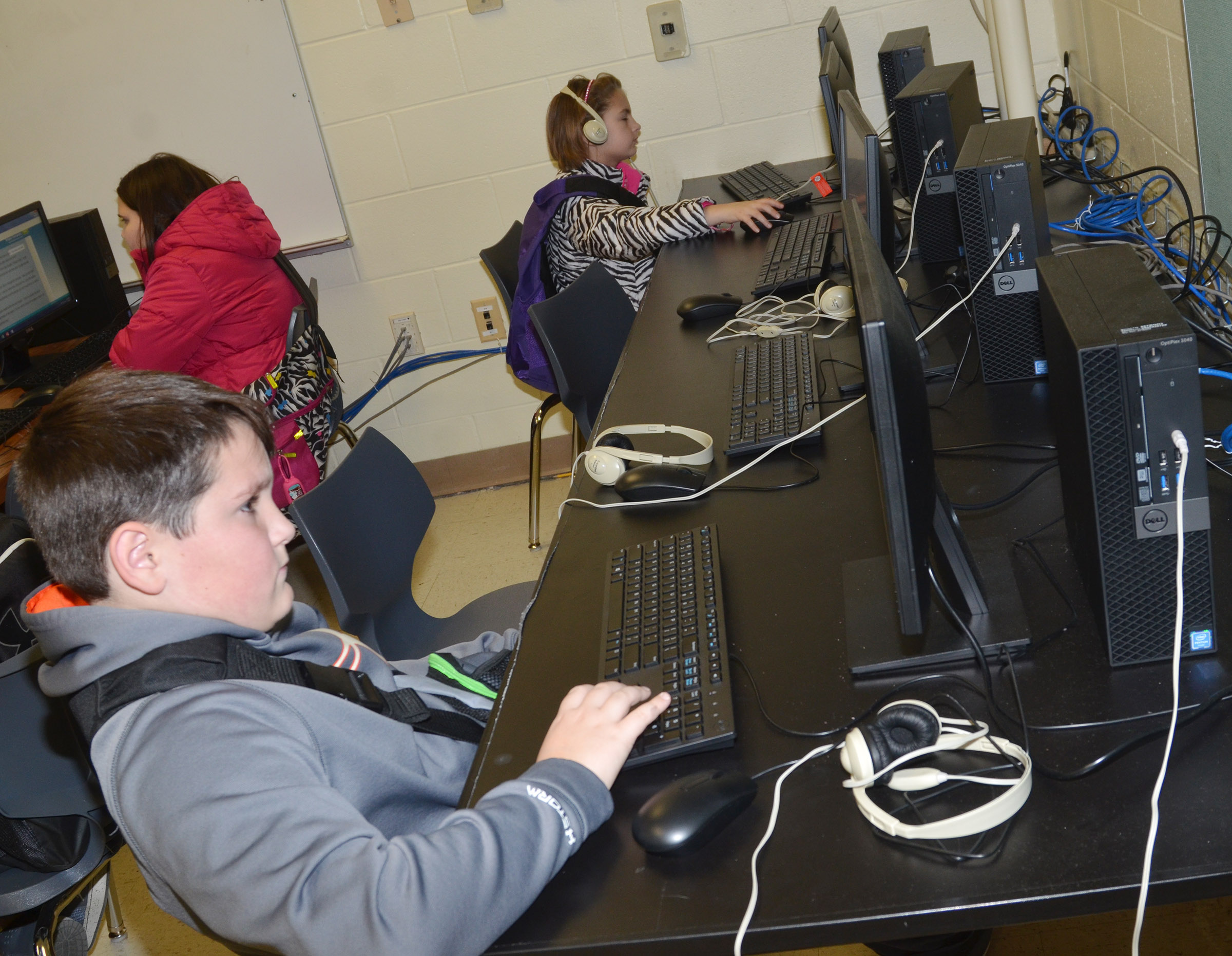 CES third-grader Ethan Garrison and his classmates use the new computer lab.