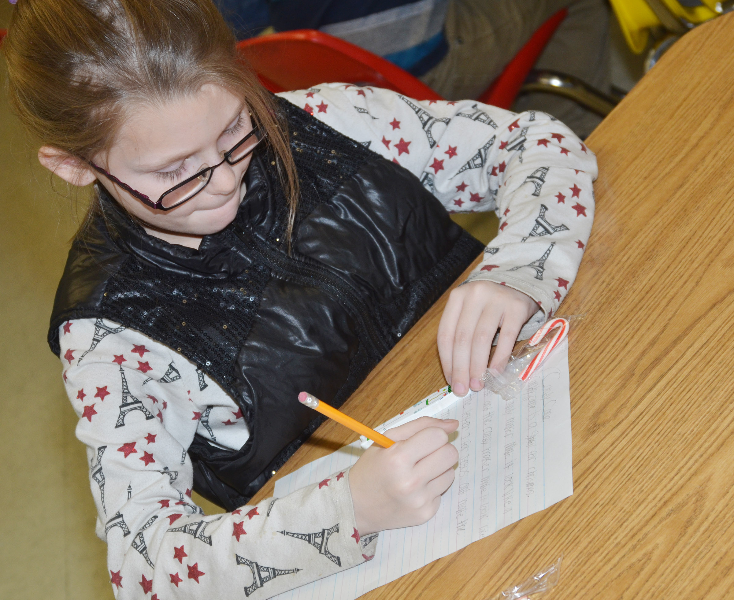 CES third-grader Sammantha Wooley writes about candy canes.