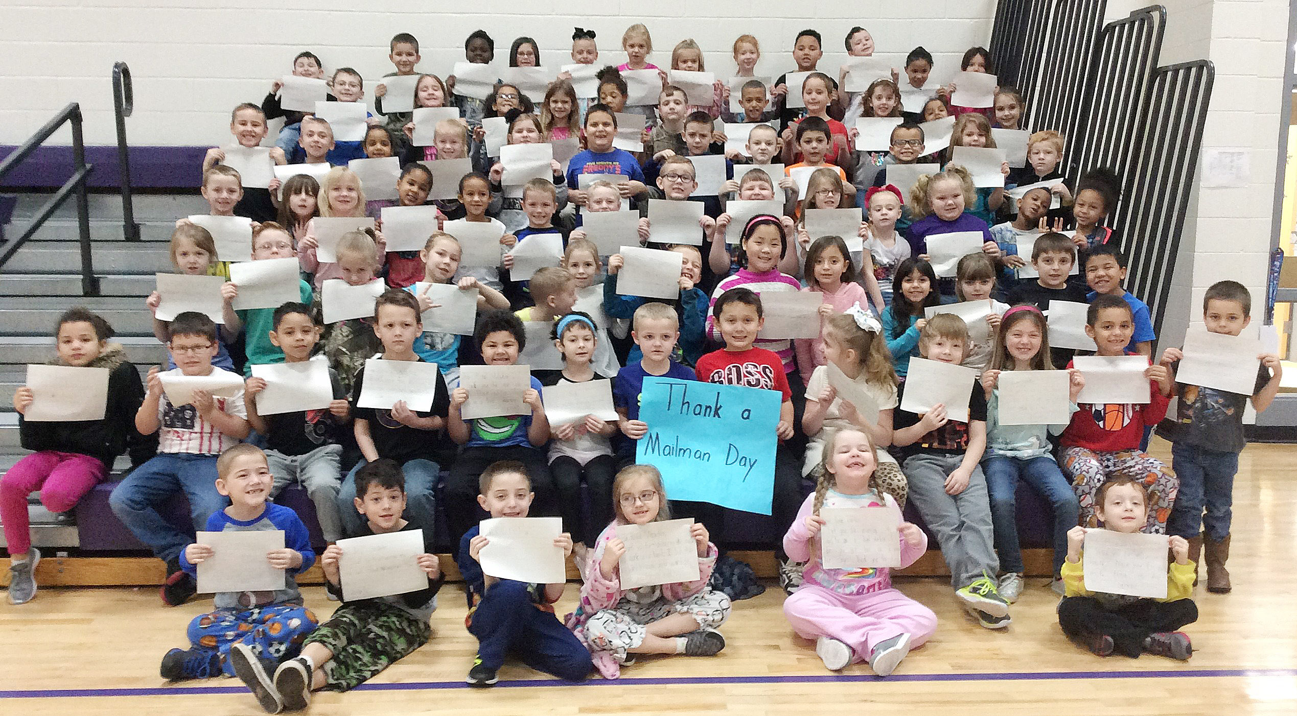 Campbellsville Elementary School first-grade students in Shirley Cox's writing classes recently wrote letters to local post office workers in honor of National Thank a Mail Carrier Day.