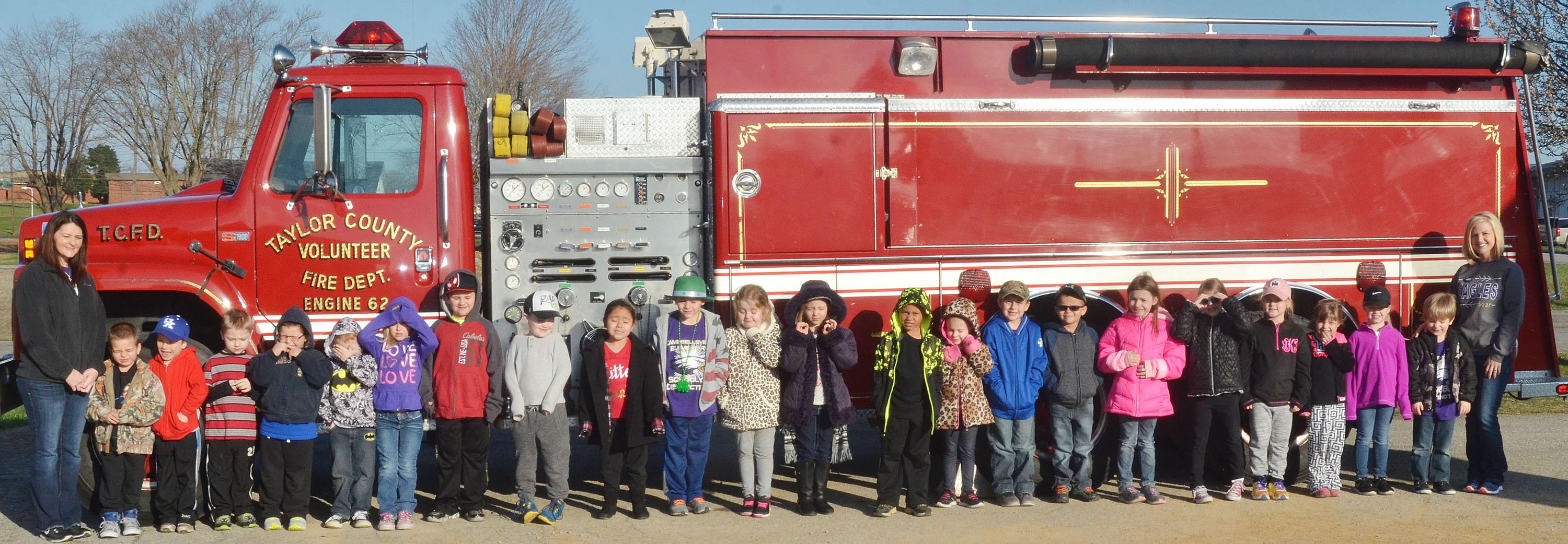 CES kindergarten students in Leanna Cundiff's class take a photo with a Taylor County Fire Department truck.