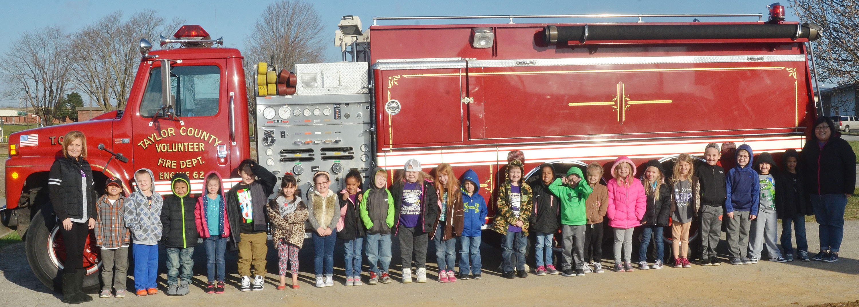 CES kindergarten students in Lisa Wiseman's class take a photo with a Taylor County Fire Department truck.