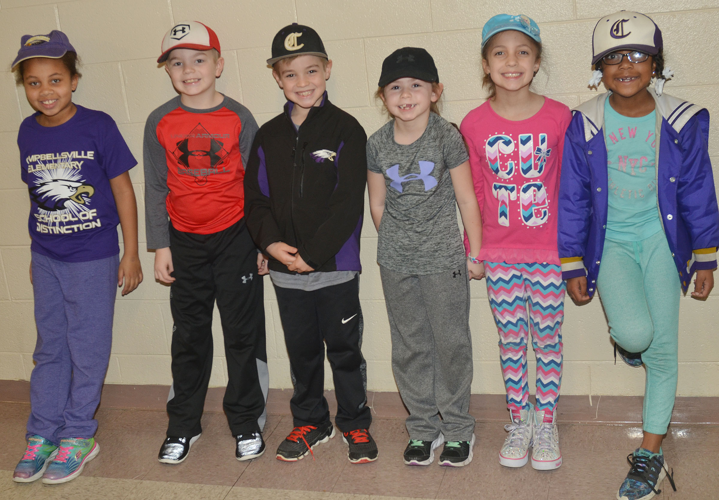 CES first-grade students in Hailey Ogle's class wear hats to raise money for Crusade for Children.