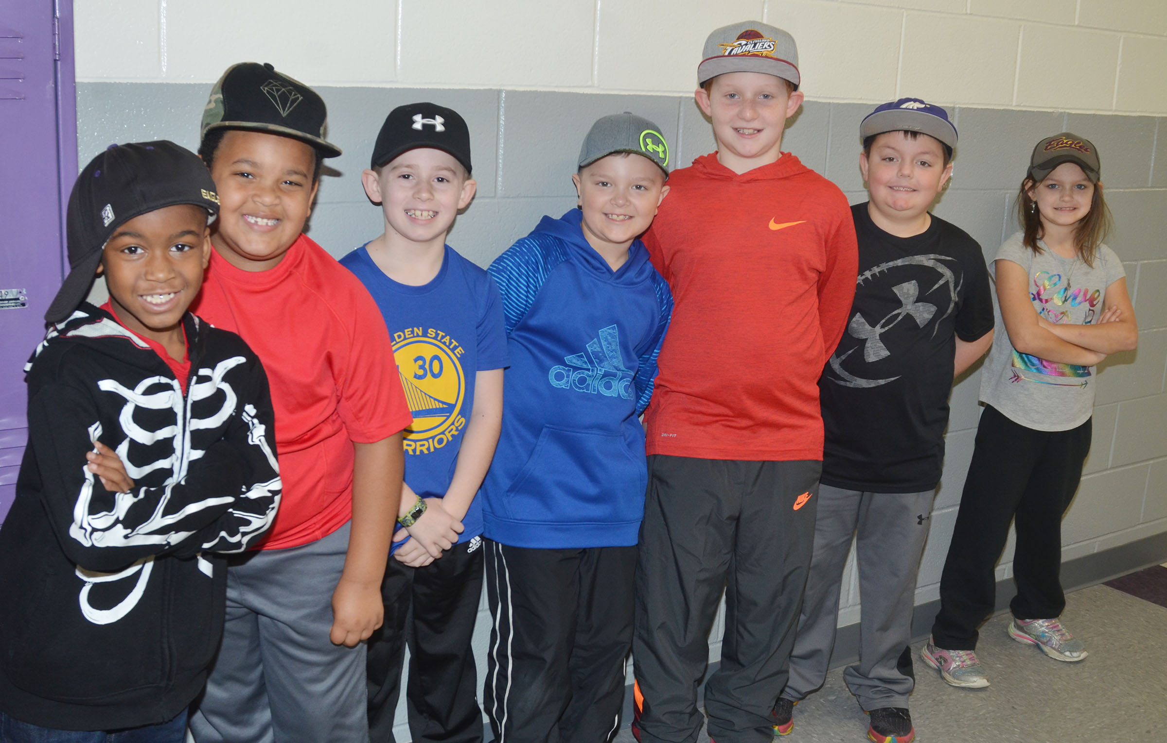 CES second-grade students in Tracey Rinehart's class wear hats to raise money for Crusade for Children.