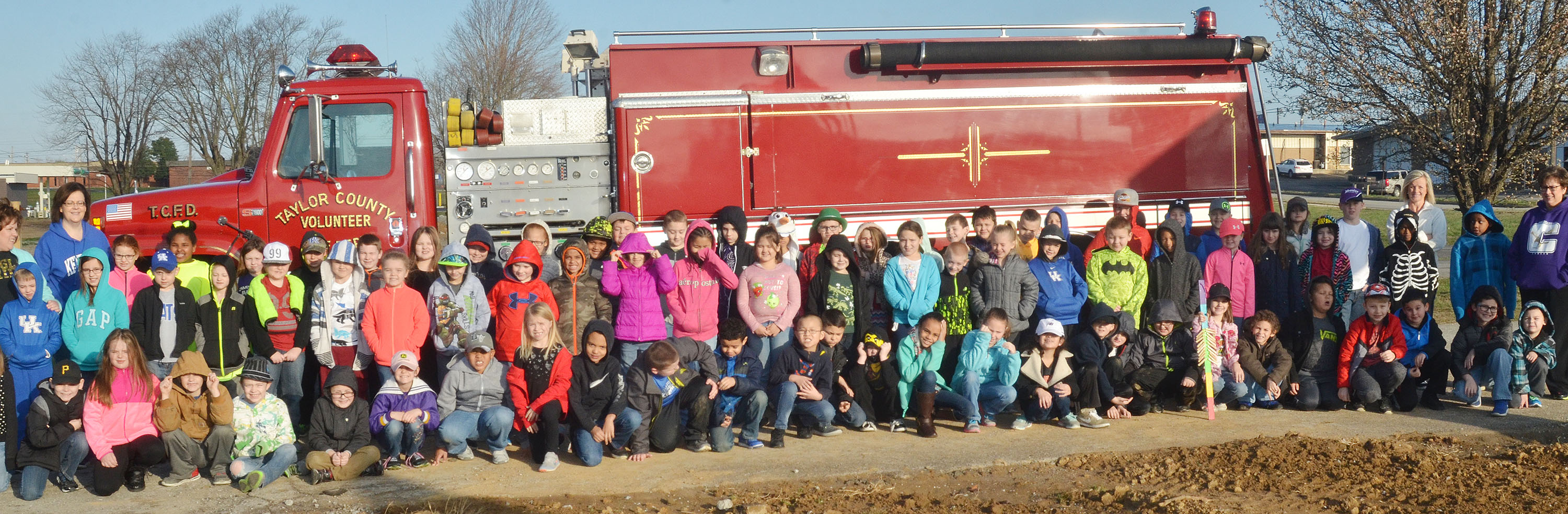 CES second-grade students take a photo with a Taylor County Fire Department truck.