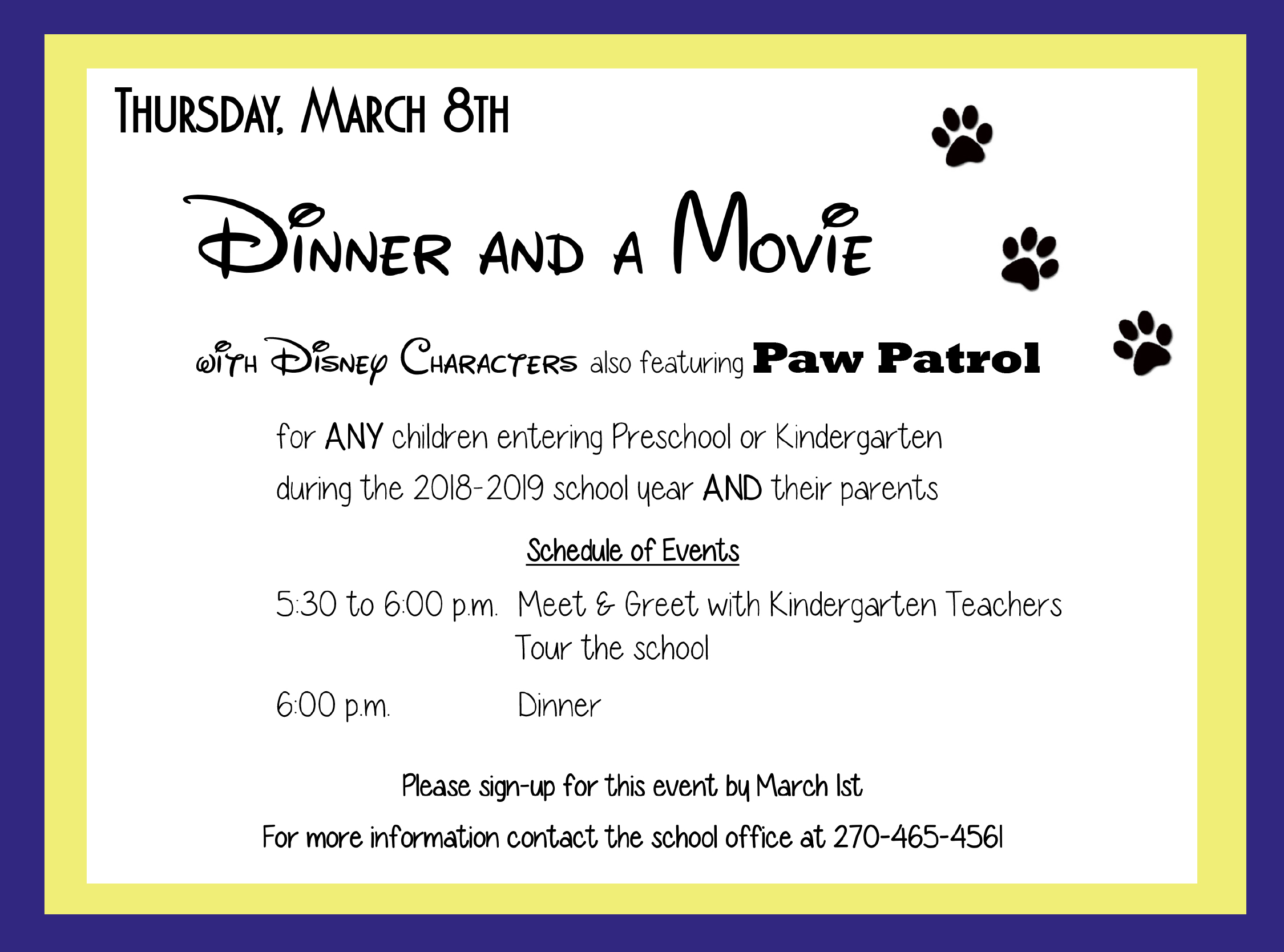 Disney Dinner and Movie Invitation