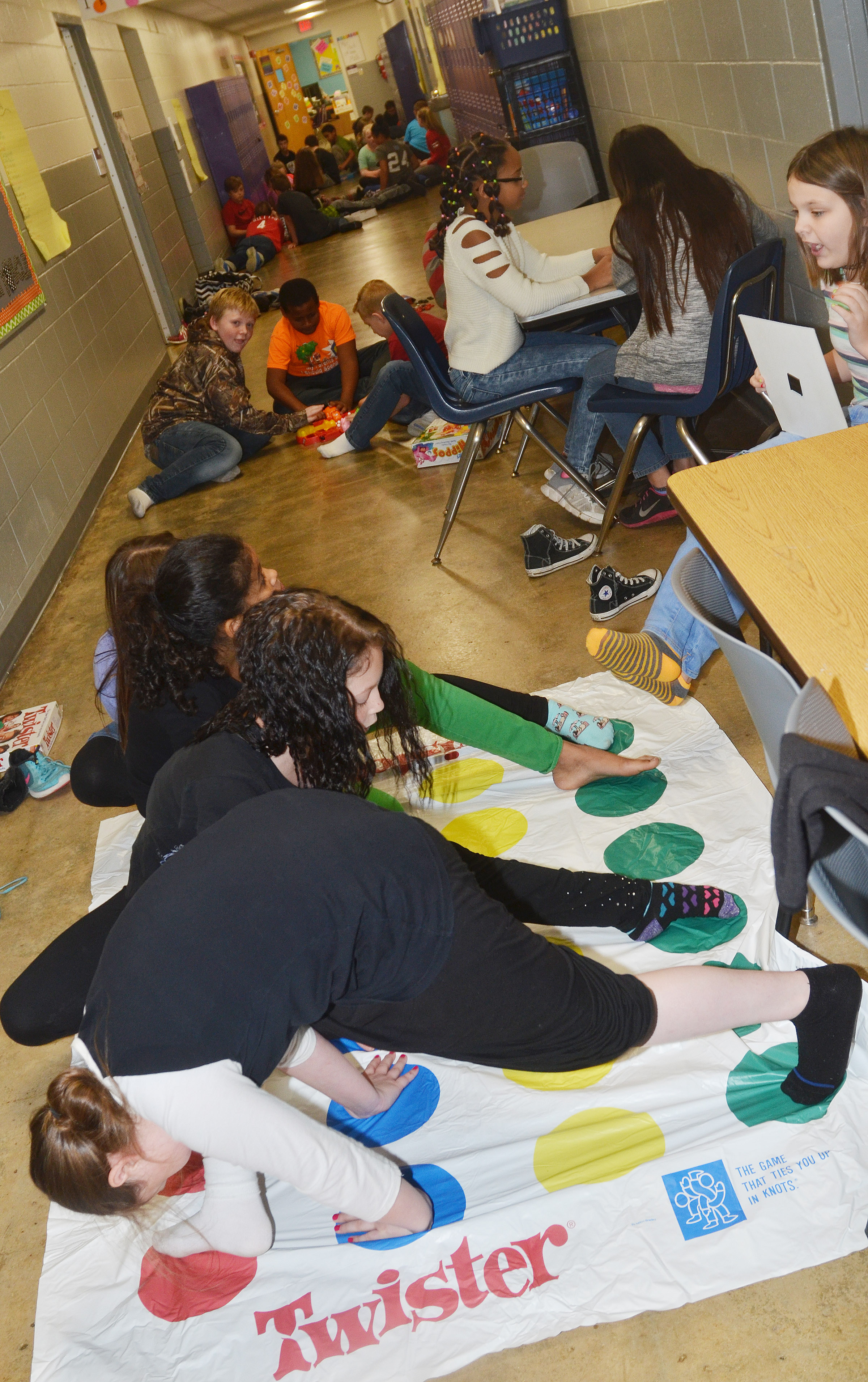 CES fifth-graders play Twister.