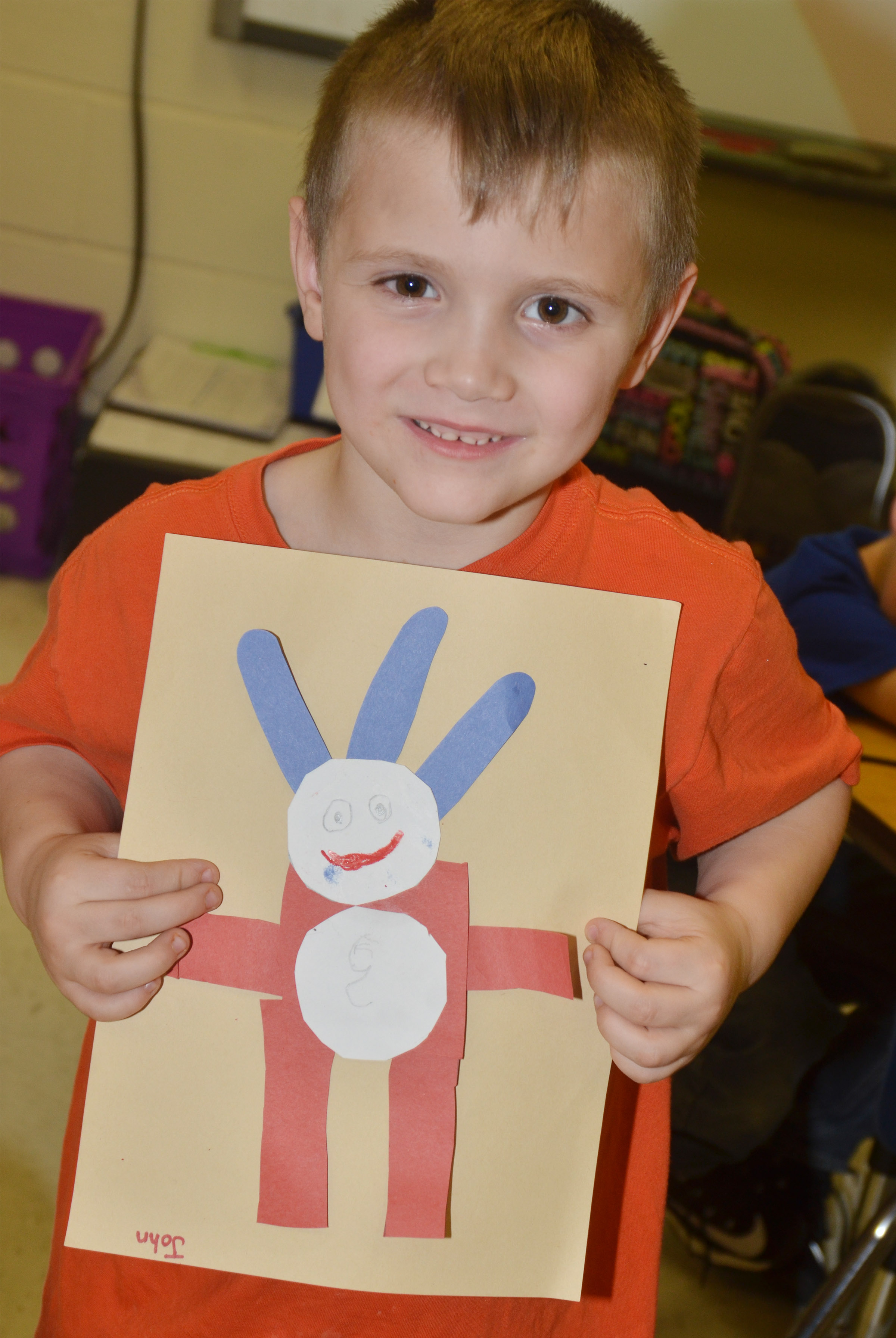 CES kindergartener John Lane holds his finished Thing 1 character.