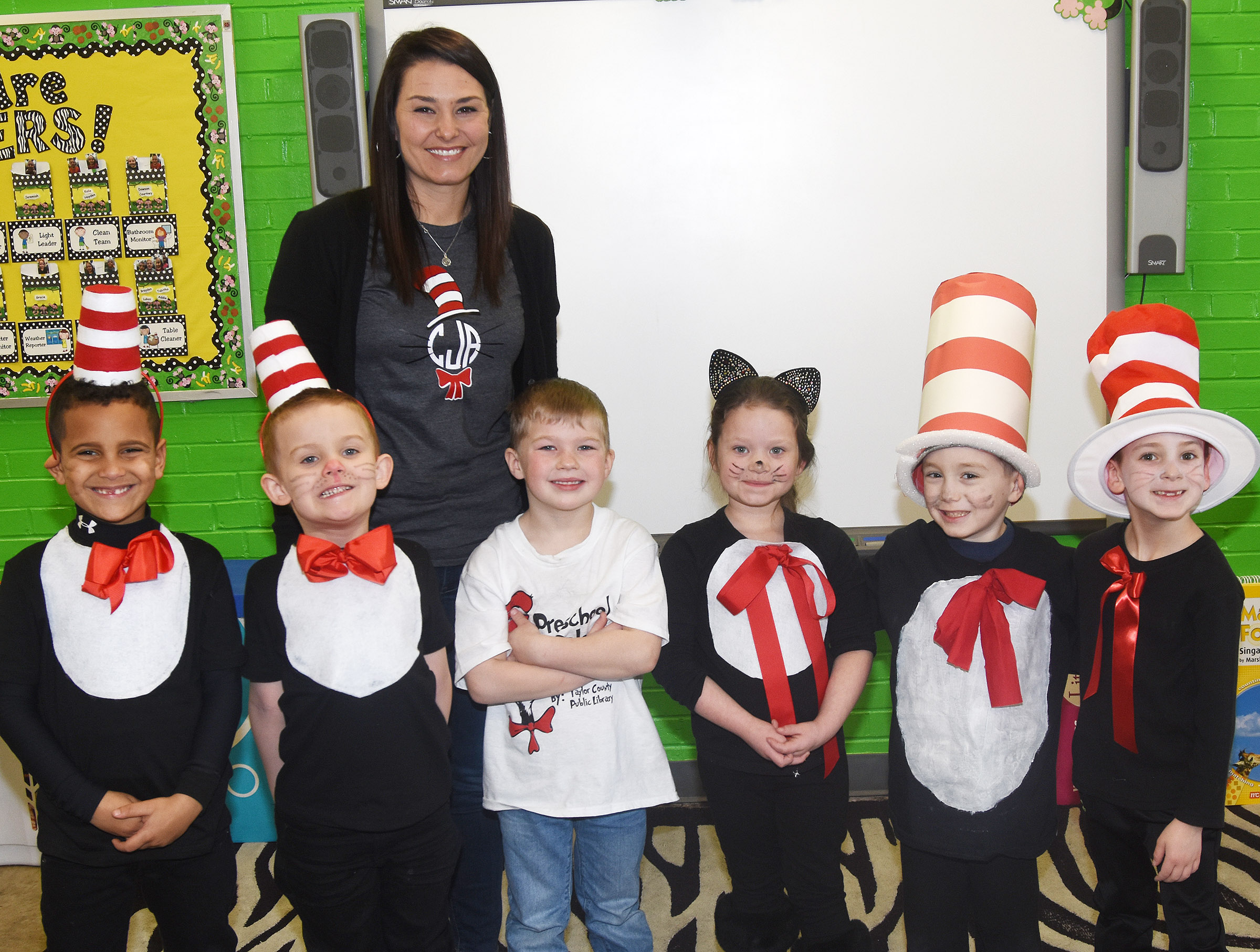 CES students and teachers dress for Cat in the Hat Day.