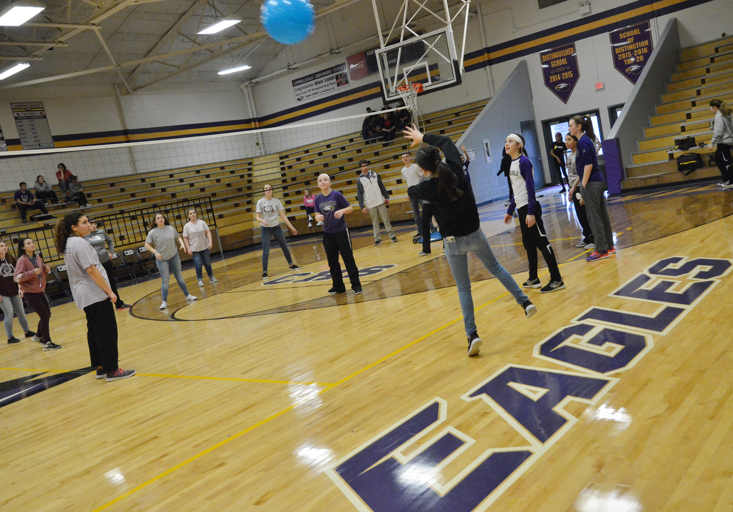 CMS seventh- and eighth-graders play volleyball.