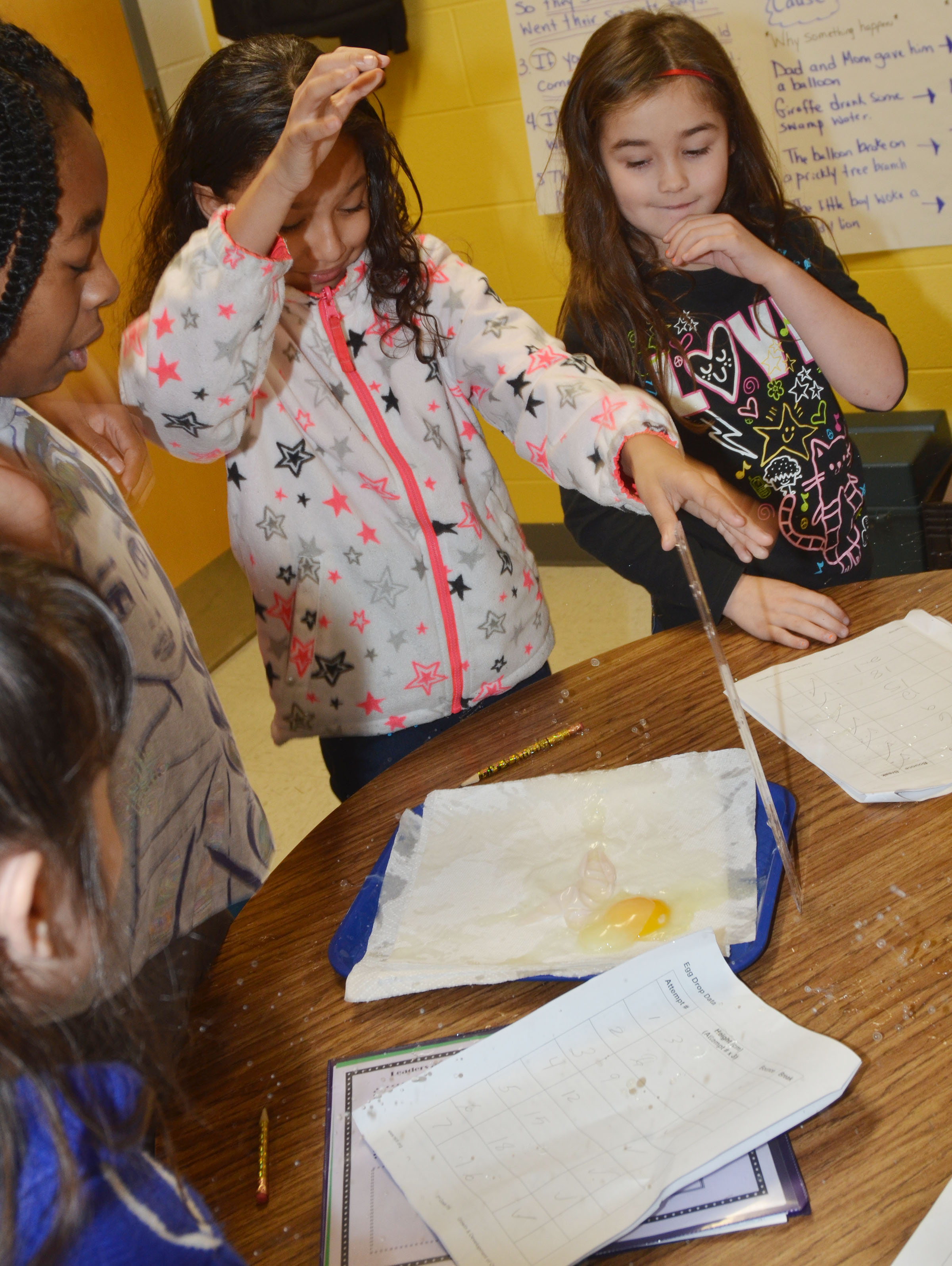CES third-grader Alyssa Knezevic drops her egg and it splatters.