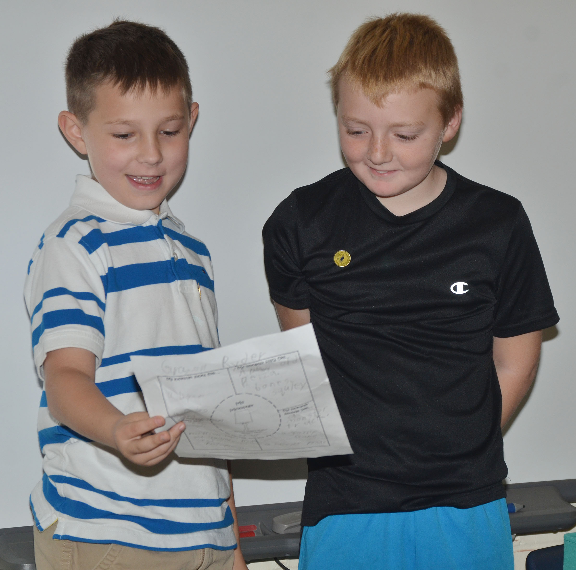 CES third-graders Grayson Dooley, at left, and Ryder Murphy tell their classmates about their monster.