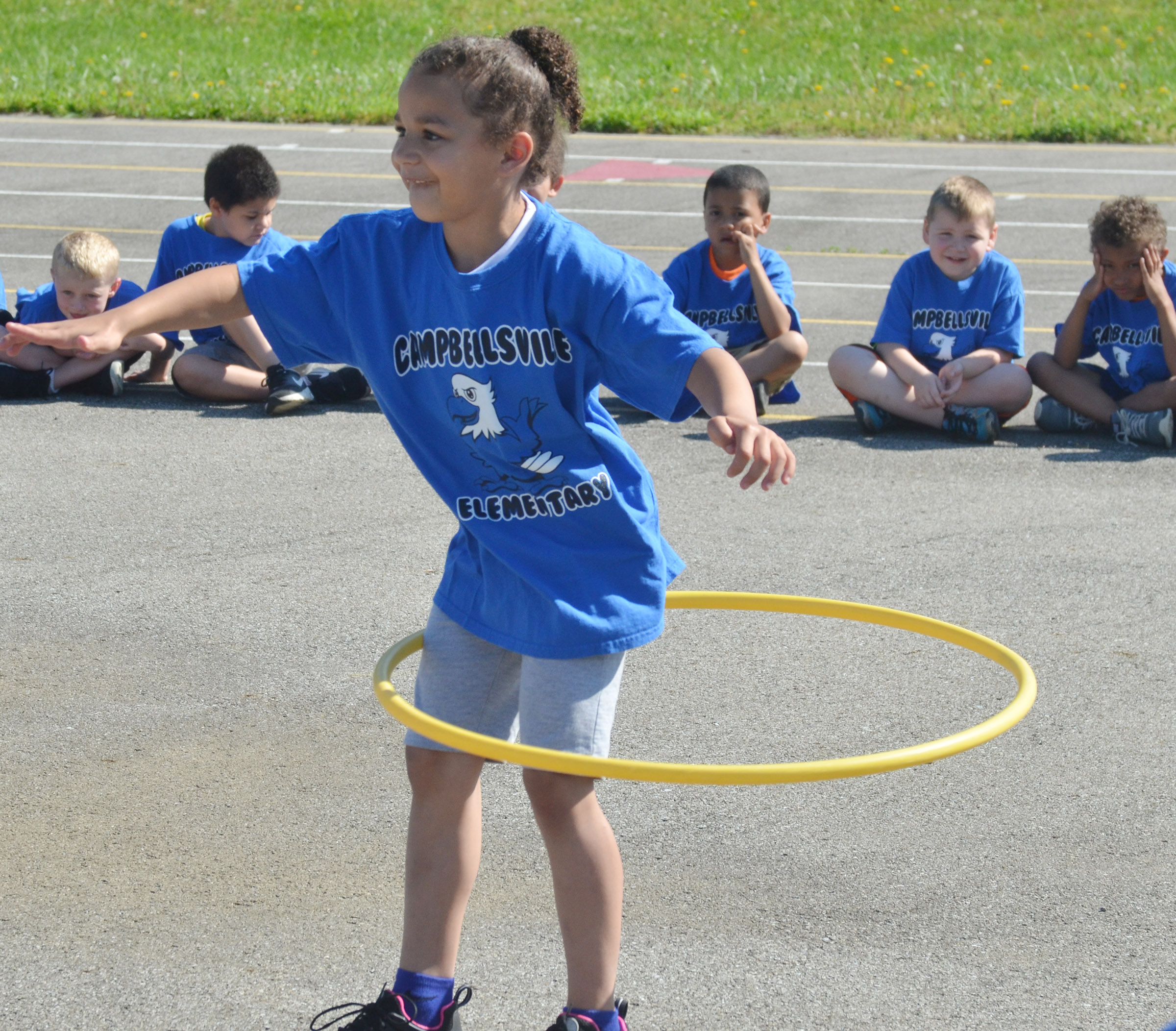 CES kindergartener Aleeya Spaulding competes in the hula hoop competition.